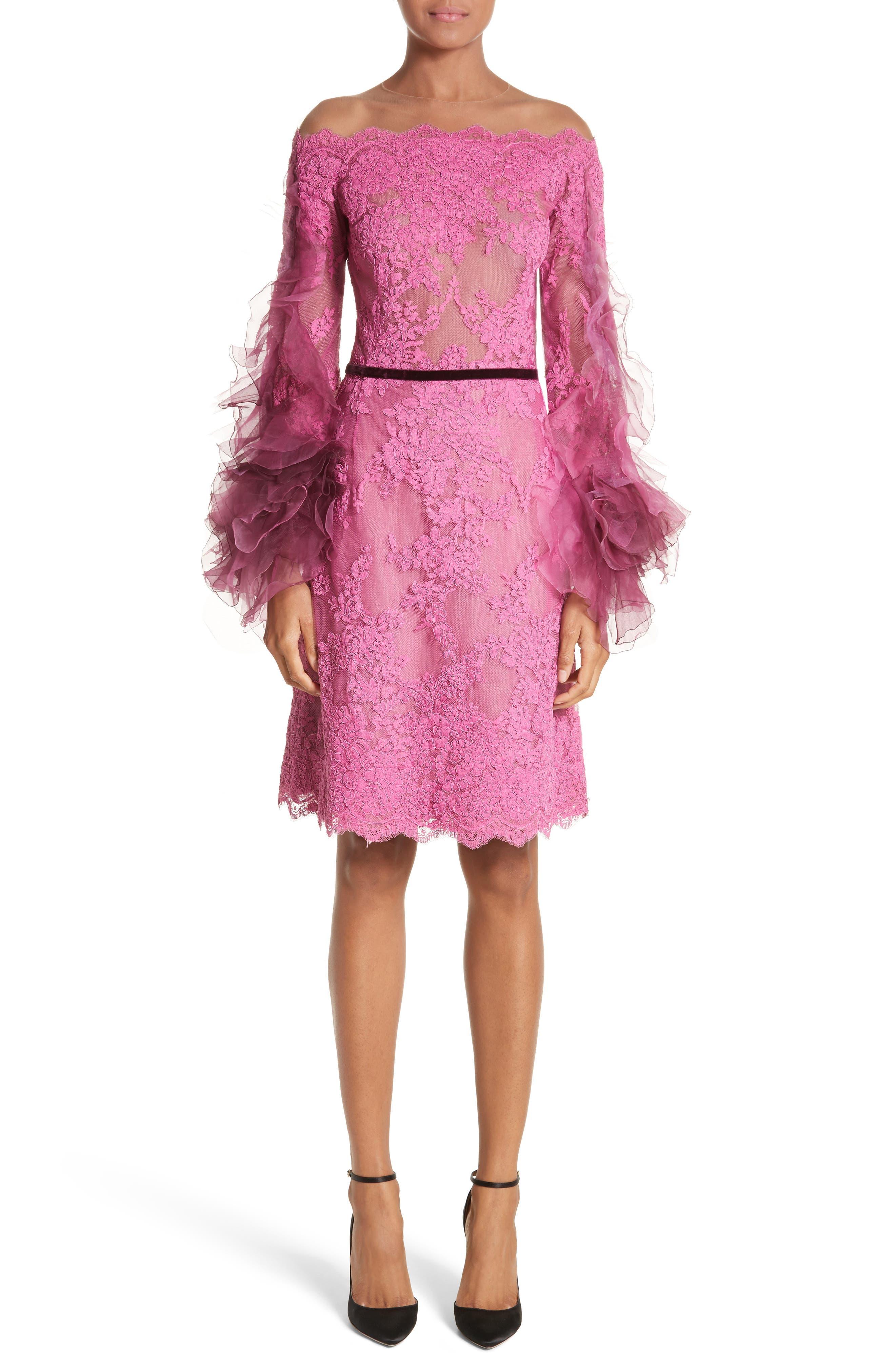 Off the Shoulder Illusion Ruffle Sleeve Lace Dress,                         Main,                         color, Azalea
