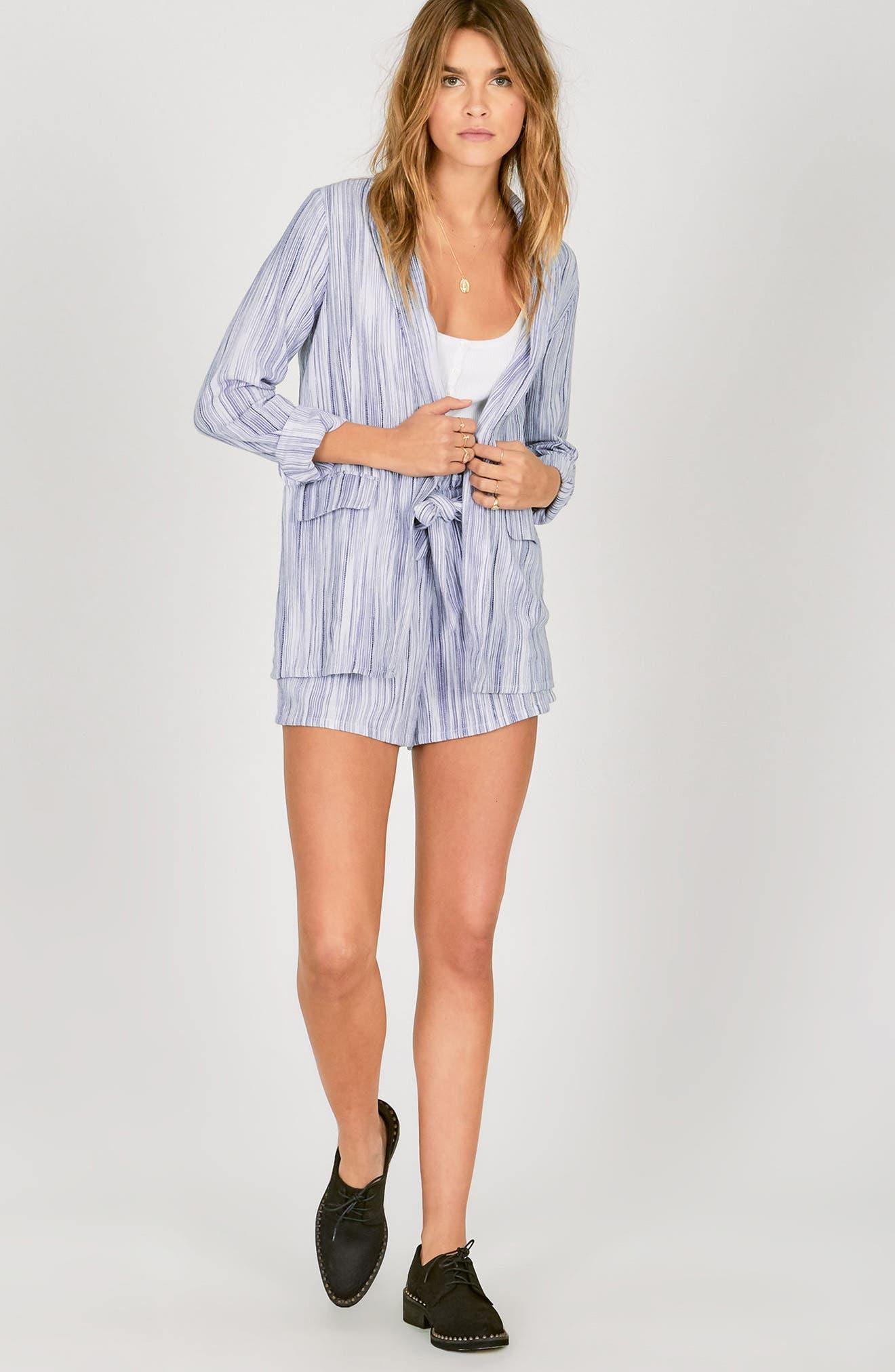 Stripe Paperbag Waist Shorts,                             Alternate thumbnail 2, color,                             Riviera Blue