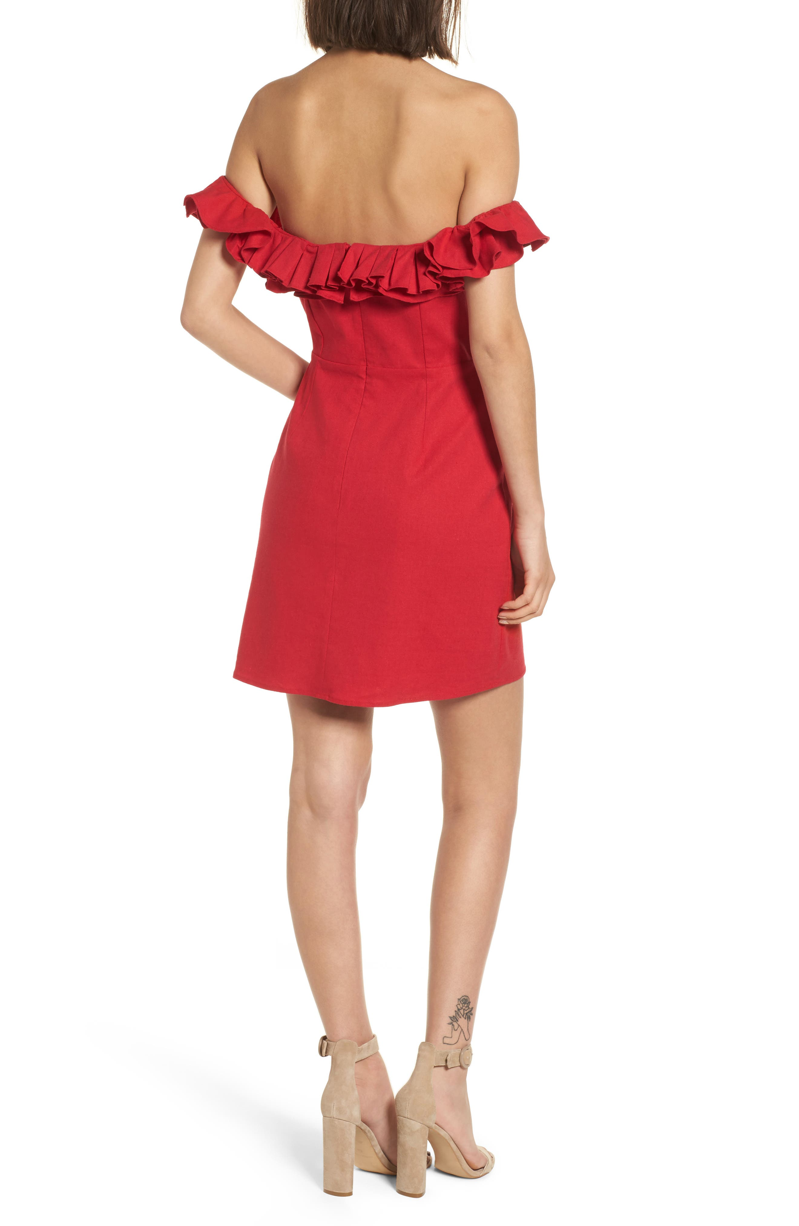 Ruffle Off the Shoulder Minidress,                             Alternate thumbnail 2, color,                             Red