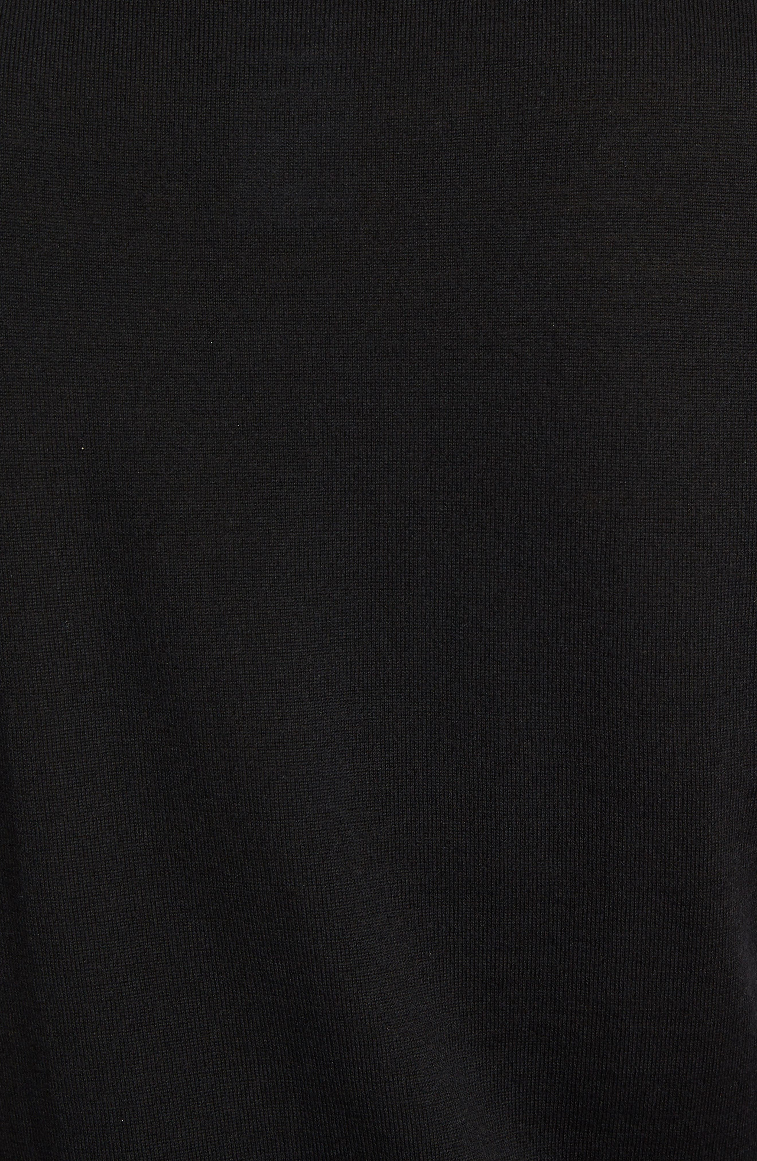 Lace Inset Wool Blend Sweater,                             Alternate thumbnail 5, color,                             Black