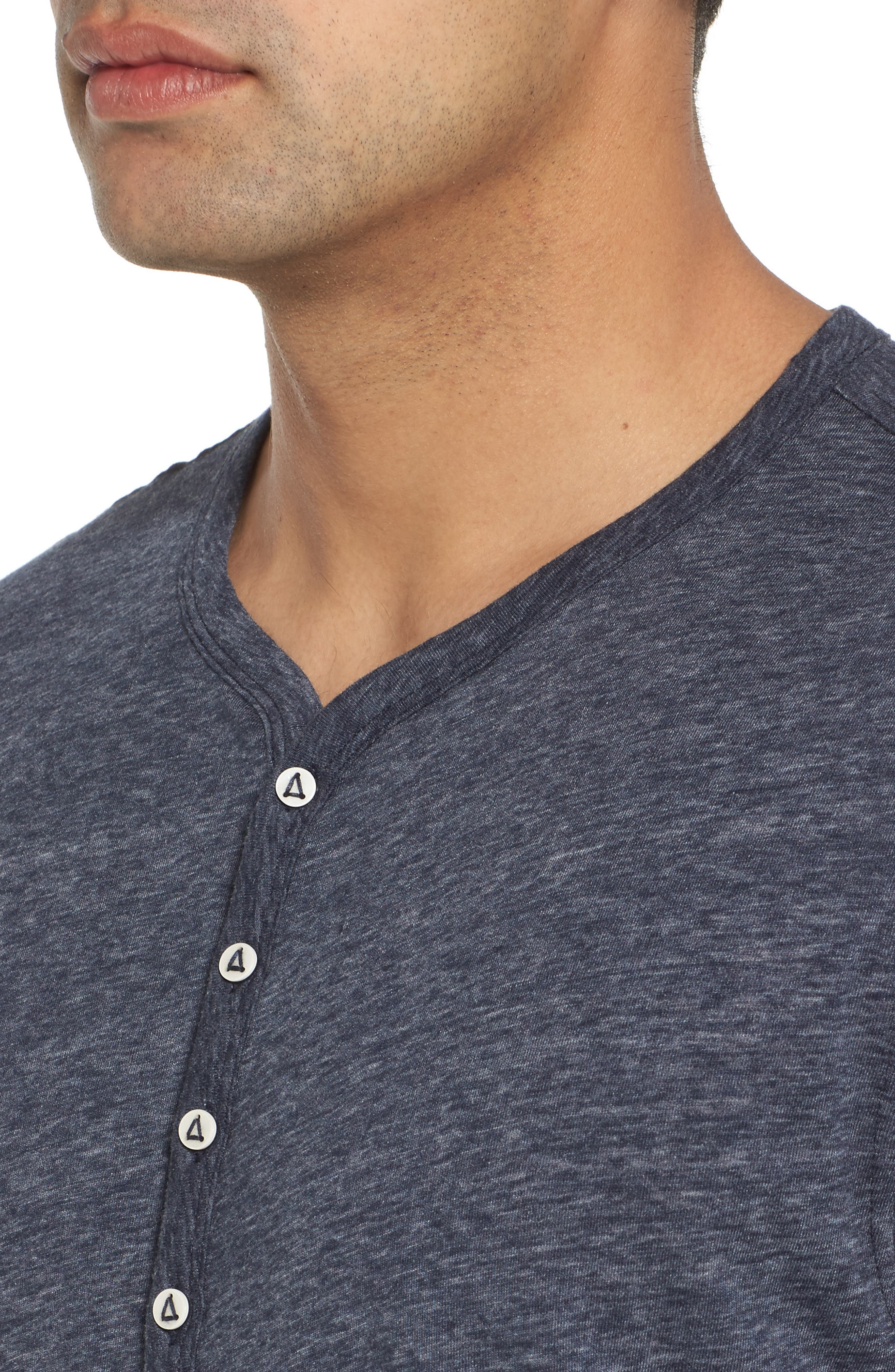 Short Sleeve Recycled Cotton Blend Henley,                             Alternate thumbnail 4, color,                             Navy Heather