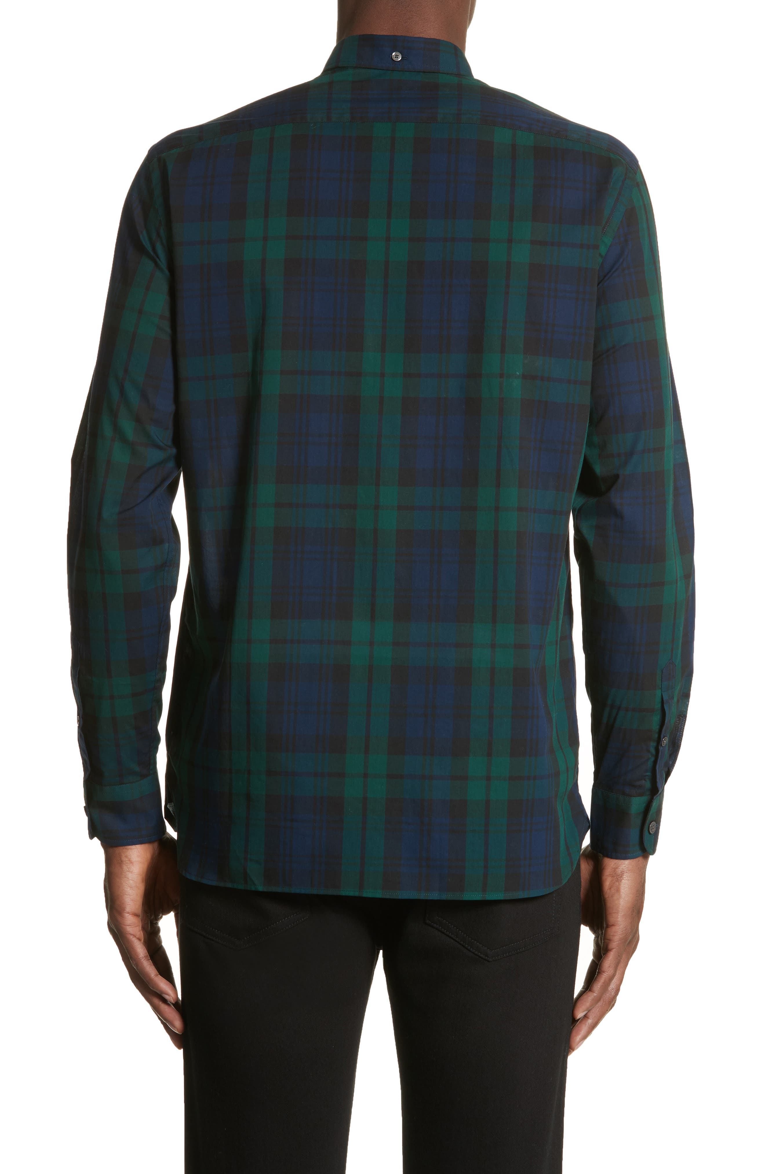 Salwick Tartan Plaid Sport Shirt,                             Alternate thumbnail 2, color,                             Navy