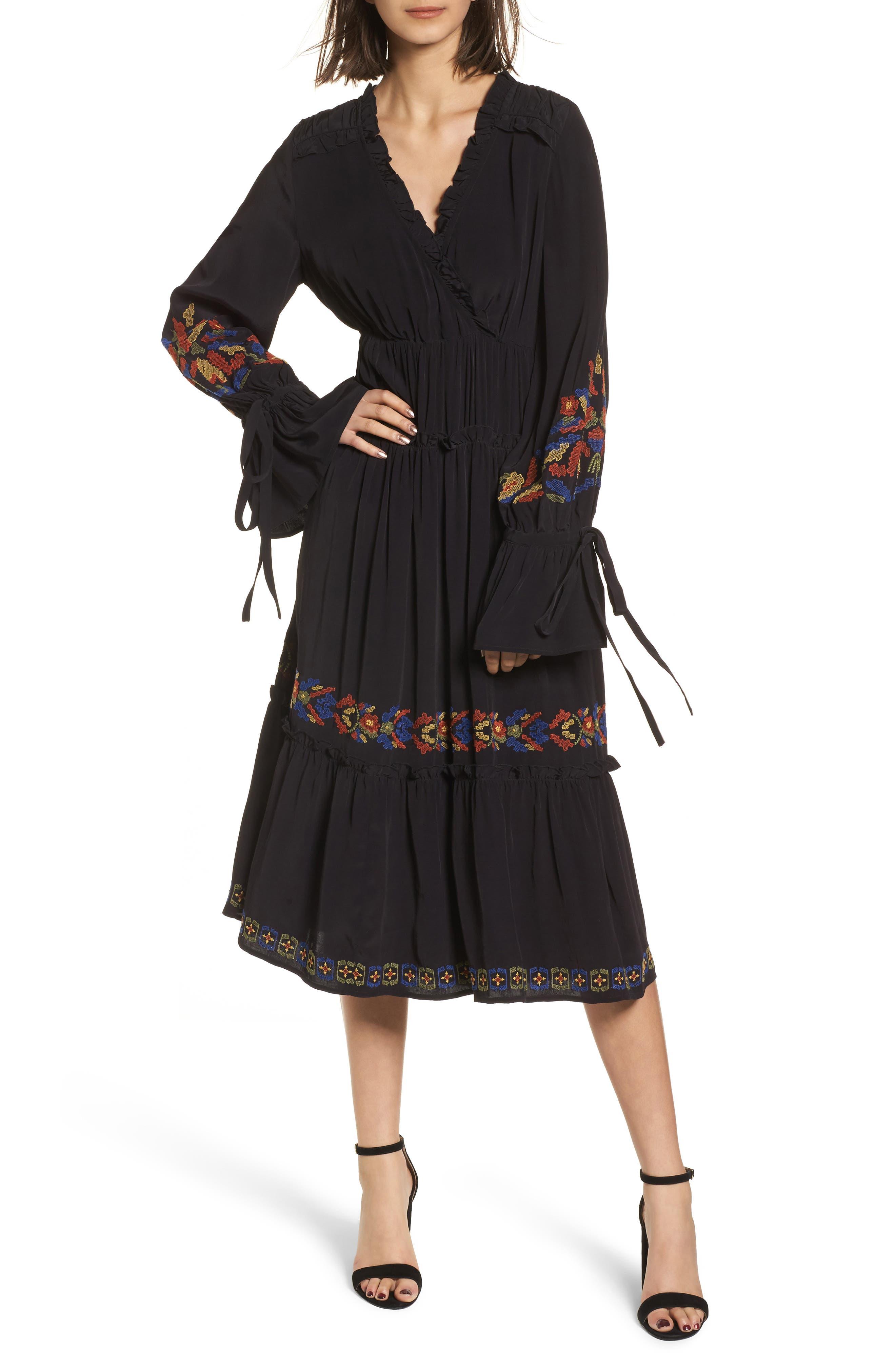 Embroidered Midi Dress,                             Main thumbnail 1, color,                             Black Combo