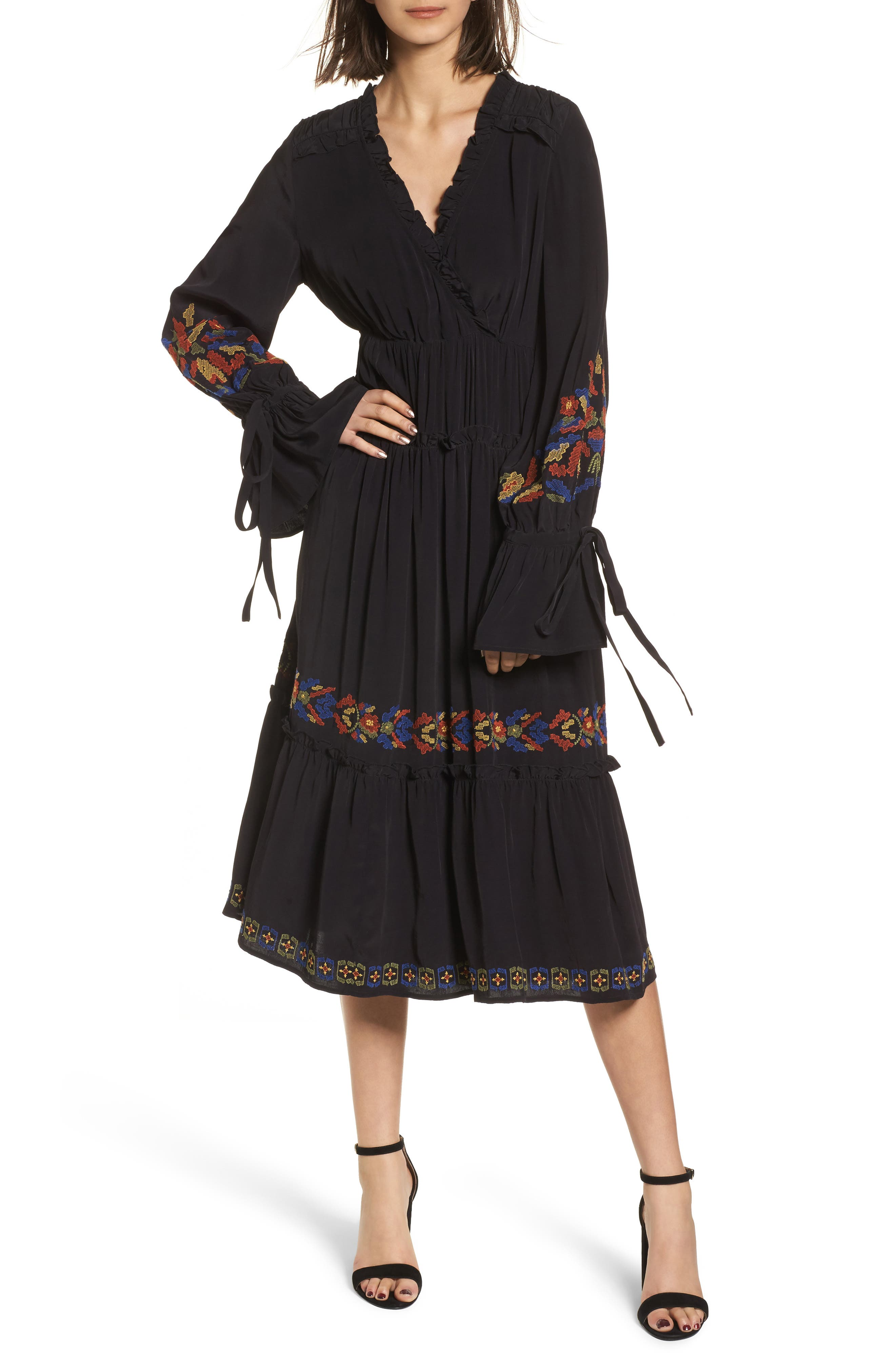 Embroidered Midi Dress,                         Main,                         color, Black Combo