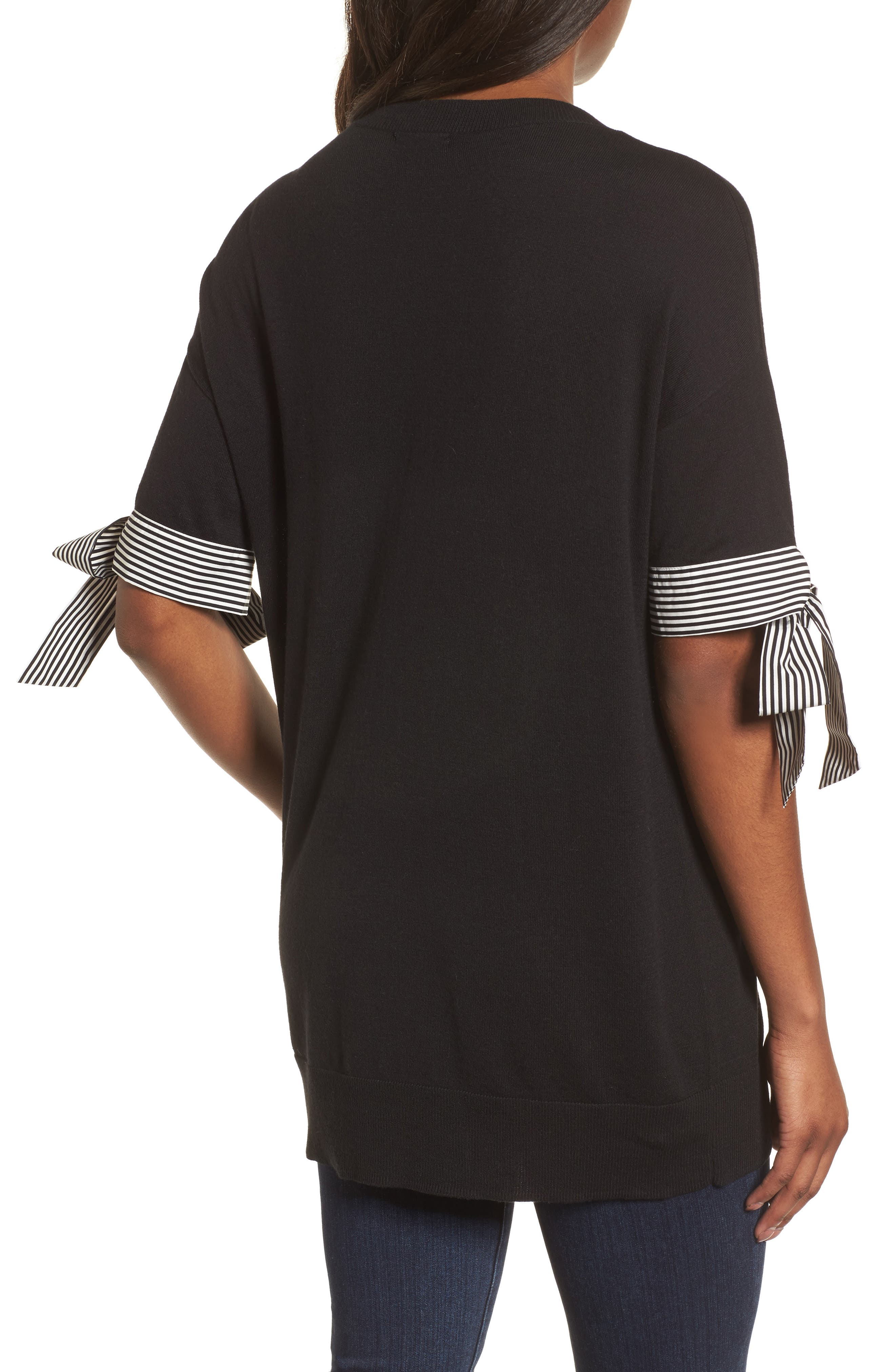 Poplin Bow Detail Sweater,                             Alternate thumbnail 2, color,                             Black