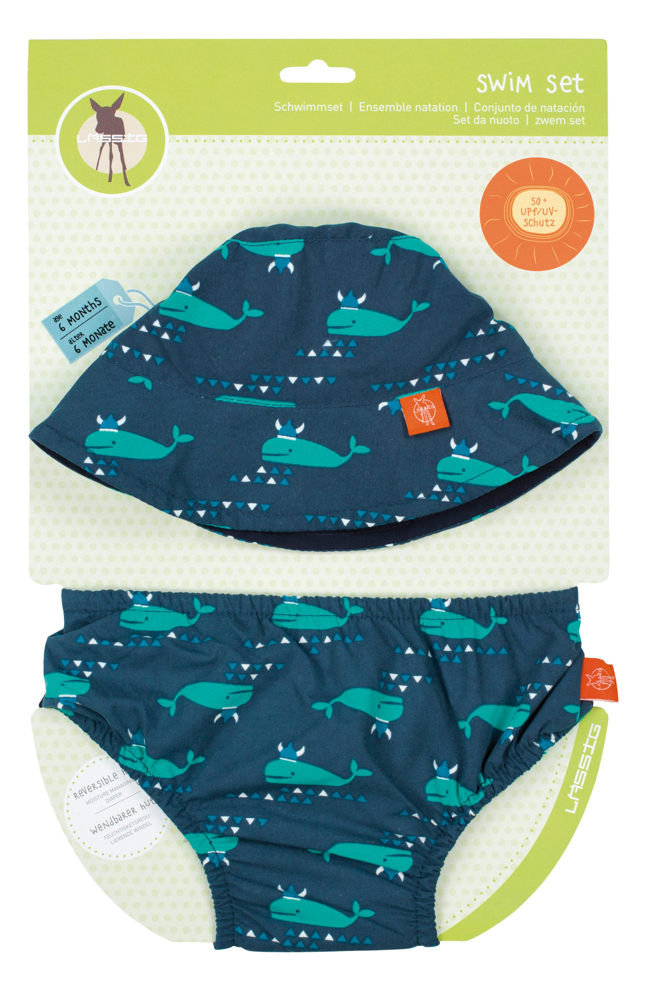 Alternate Image 1 Selected - Lässig Blue Whale Bucket Hat & Swim Diaper Cover Set (Baby Boys)