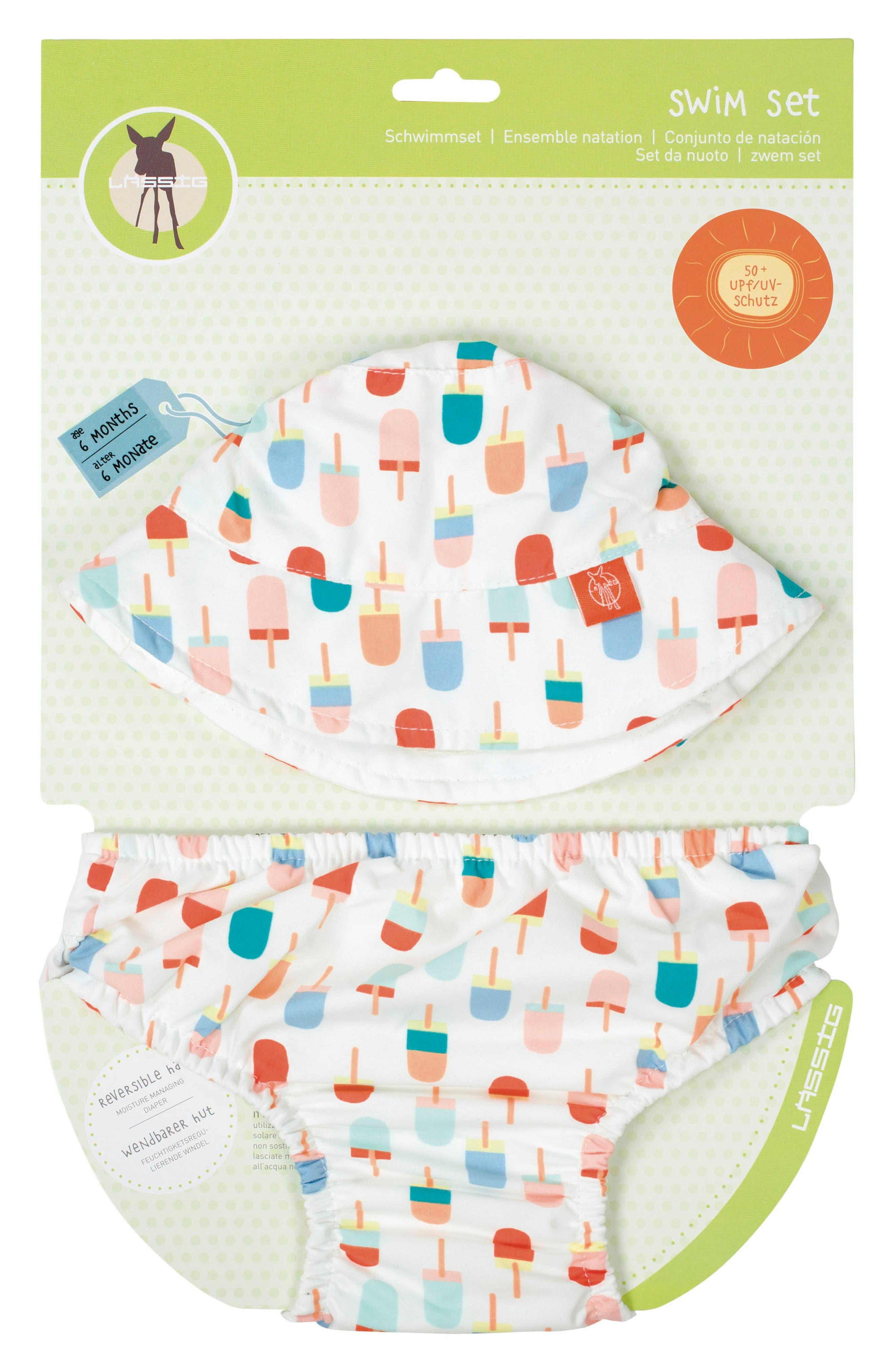 Ice Cream Bucket Hat & Swim Diaper Cover Set,                             Main thumbnail 1, color,                             White Orange Teal