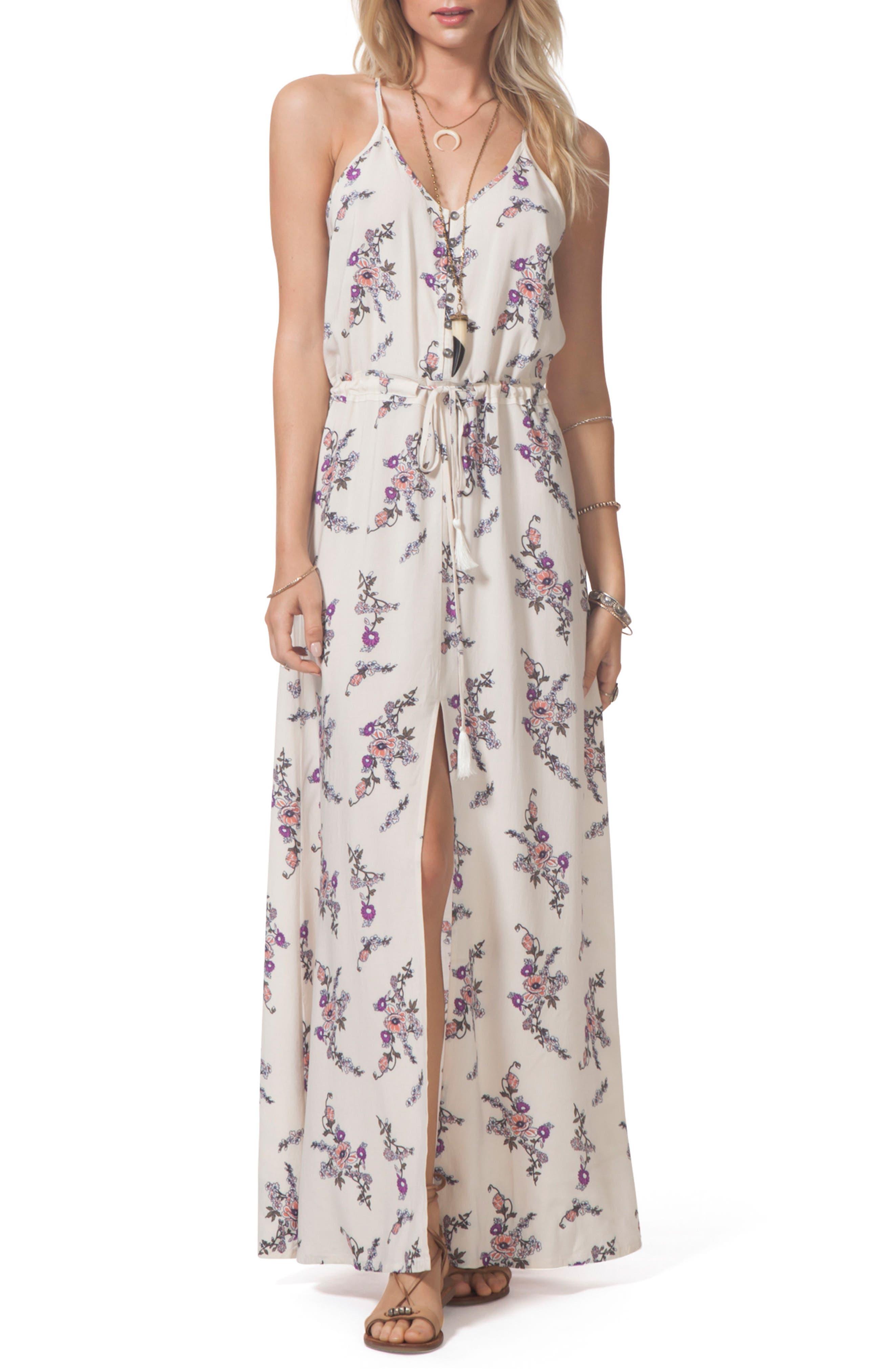 Malia Floral Print Maxi Dress,                         Main,                         color, Vanilla