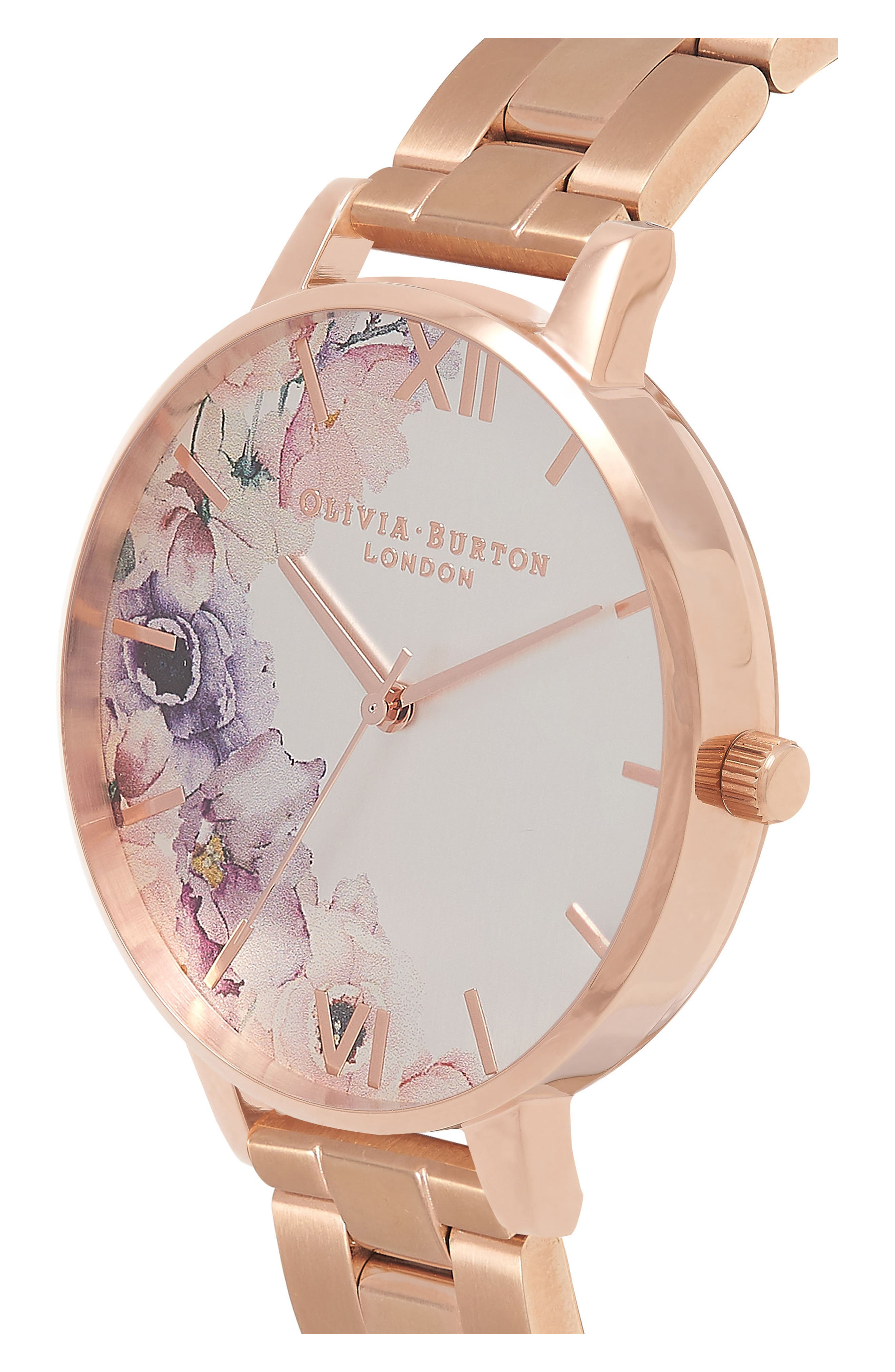 Watercolour Florals Bracelet Watch, 38mm,                             Alternate thumbnail 3, color,                             Rose Gold/ Silver/ Rose Gold