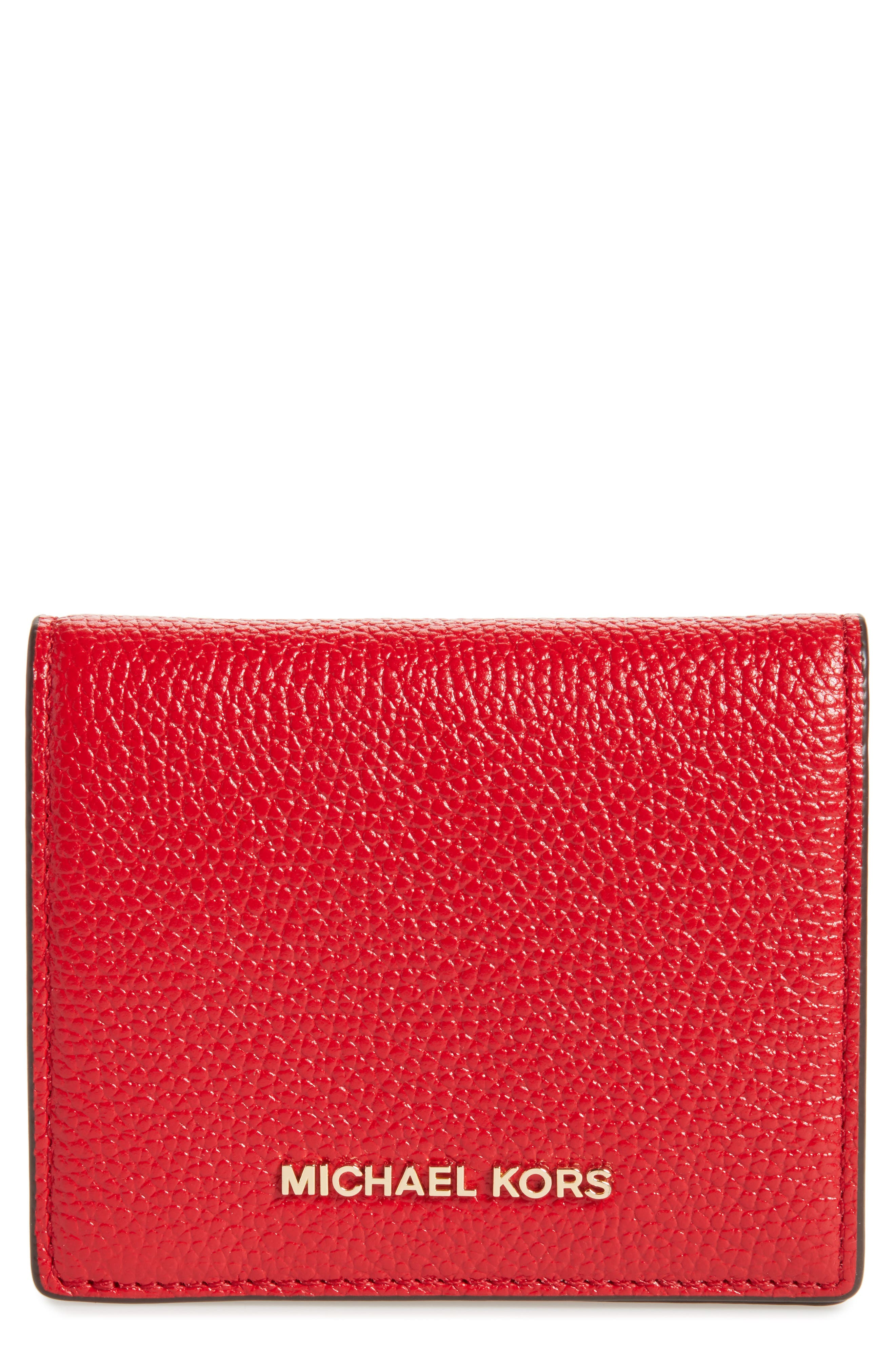 Mercer Leather RFID Card Holder,                             Main thumbnail 1, color,                             Bright Red