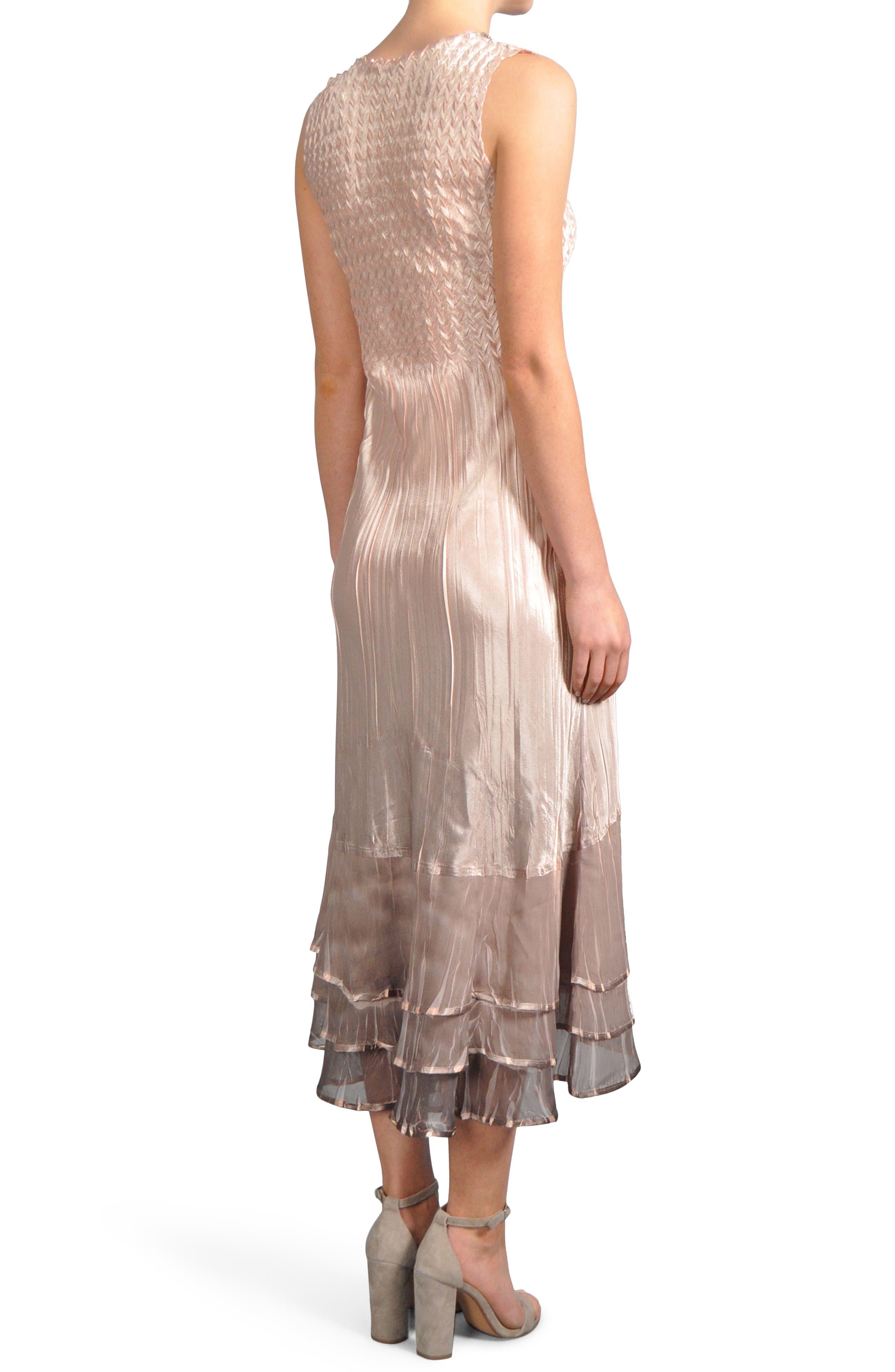 Ruffle Hem Midi Dress with Jacket,                             Alternate thumbnail 3, color,                             Vintage Rose