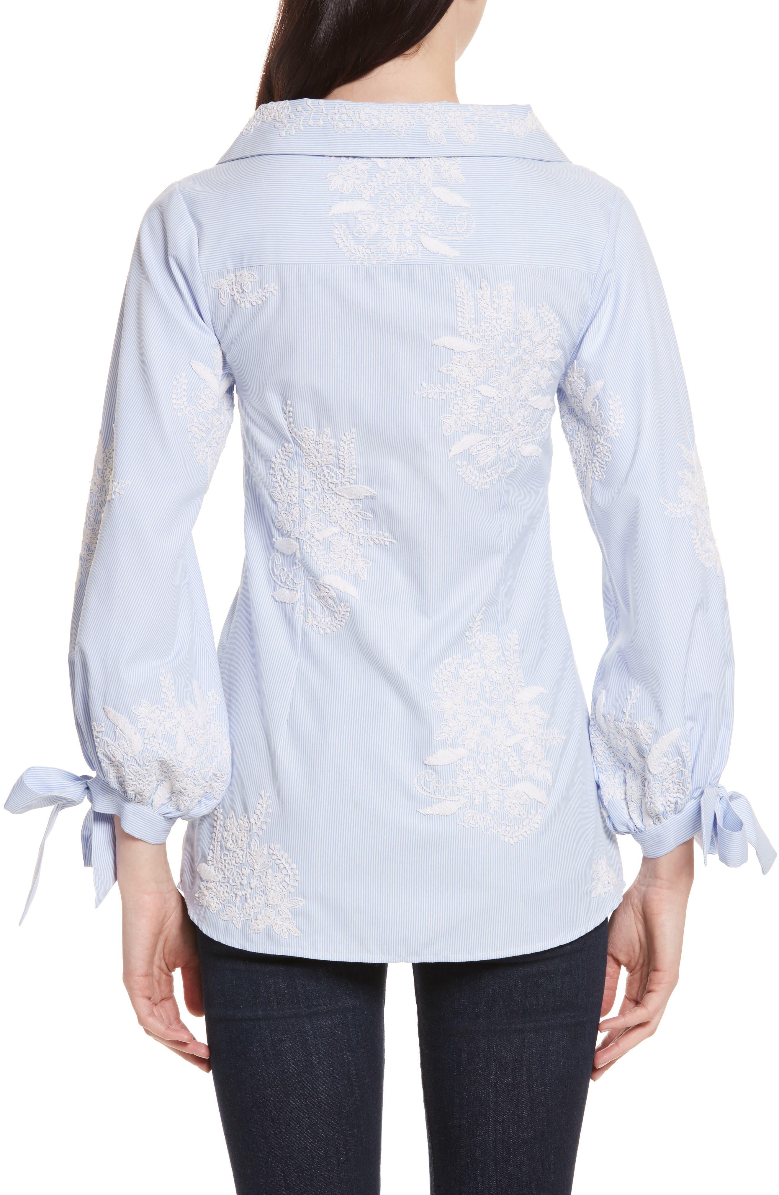 Alternate Image 2  - Alice + Olivia Toro Embroidered Tie Sleeve Blouse