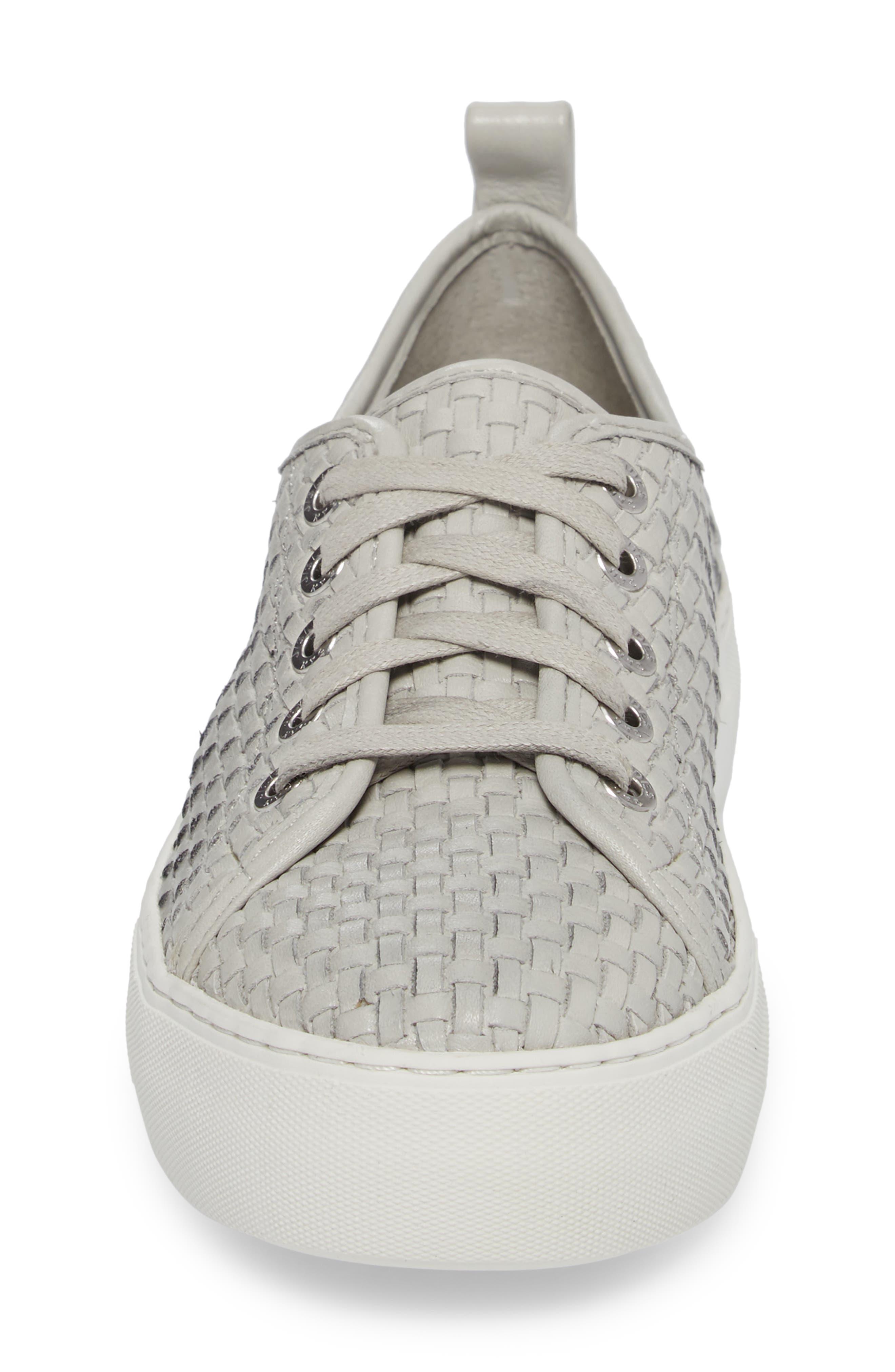 Artsy Woven Platform Sneaker,                             Alternate thumbnail 4, color,                             Pale Grey Leather