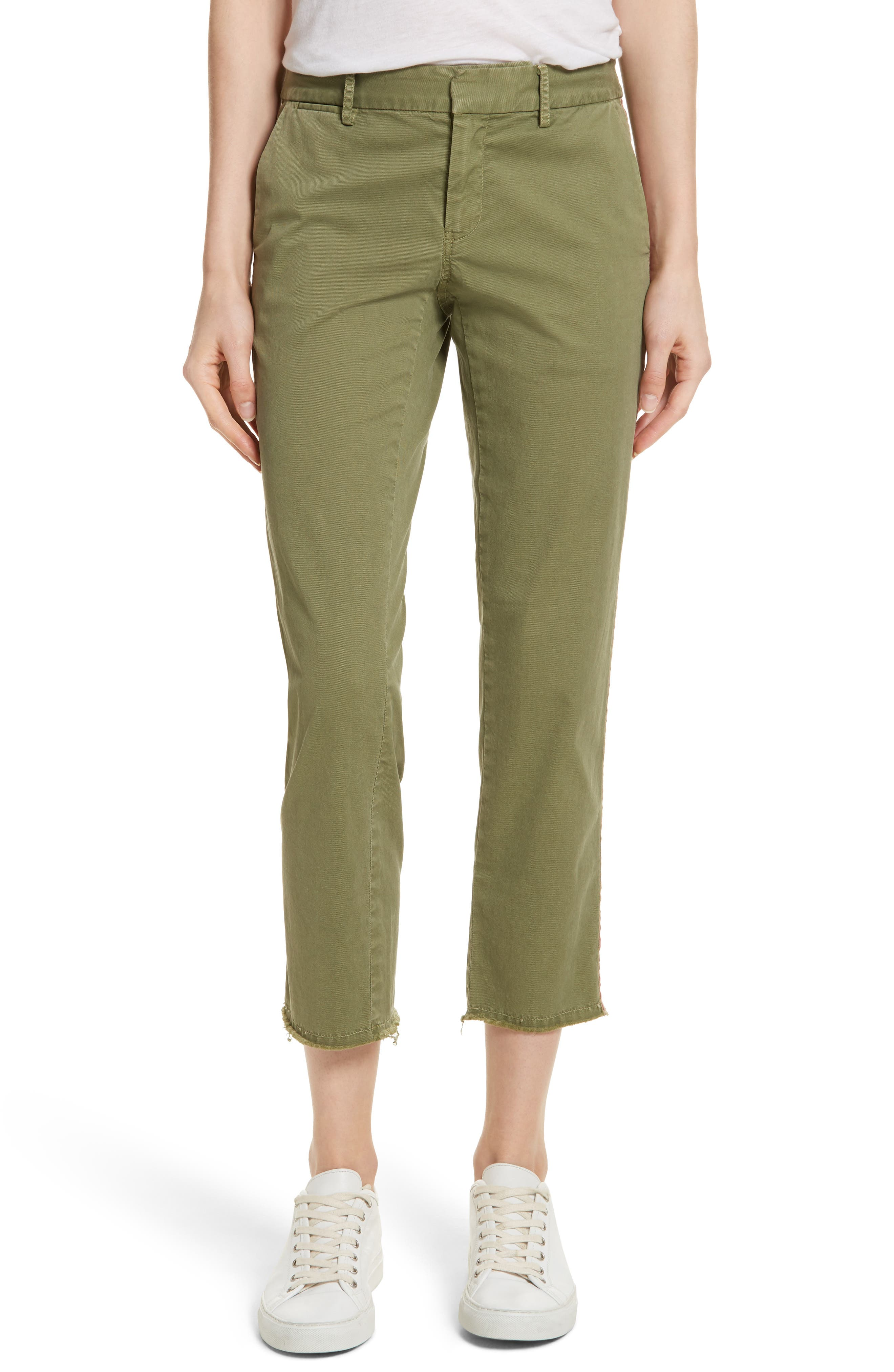 East Hampton Stretch Cotton Twill Crop Pants,                         Main,                         color, Army Green