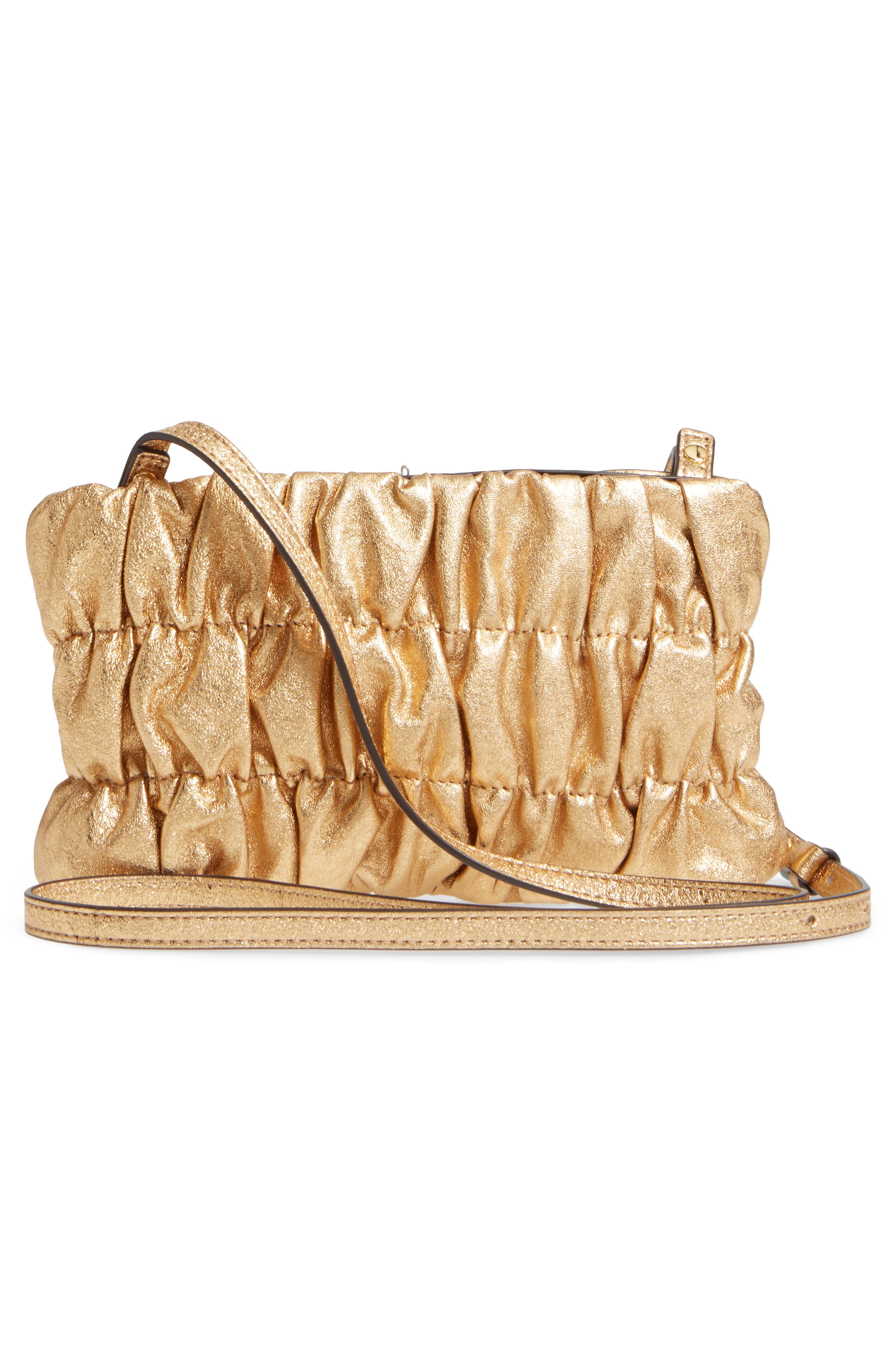 MICHAEL Michael Kors Webster Metallic Leather Clutch,                             Alternate thumbnail 3, color,                             Gold