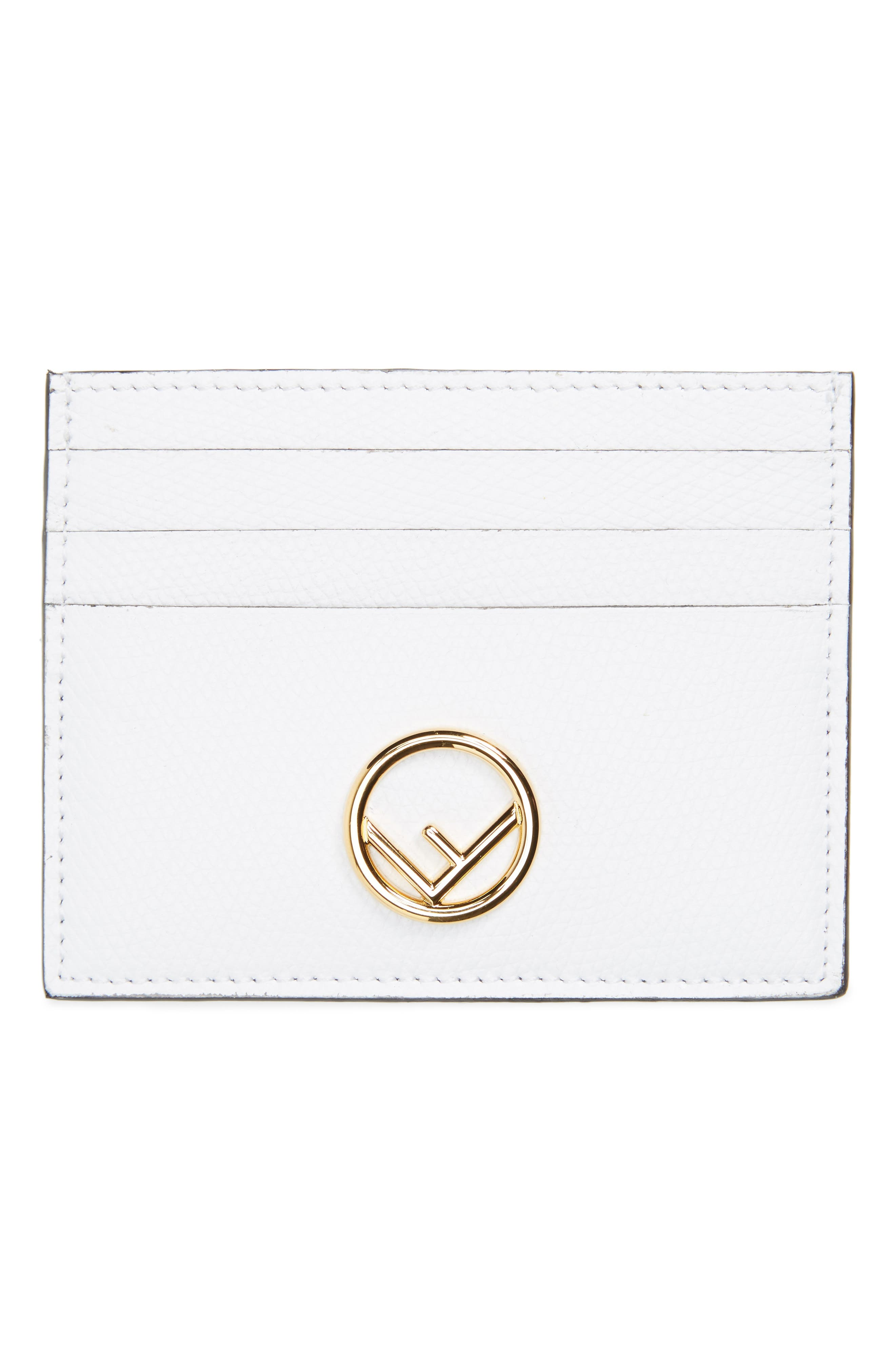 Logo Leather Card Case,                         Main,                         color, White