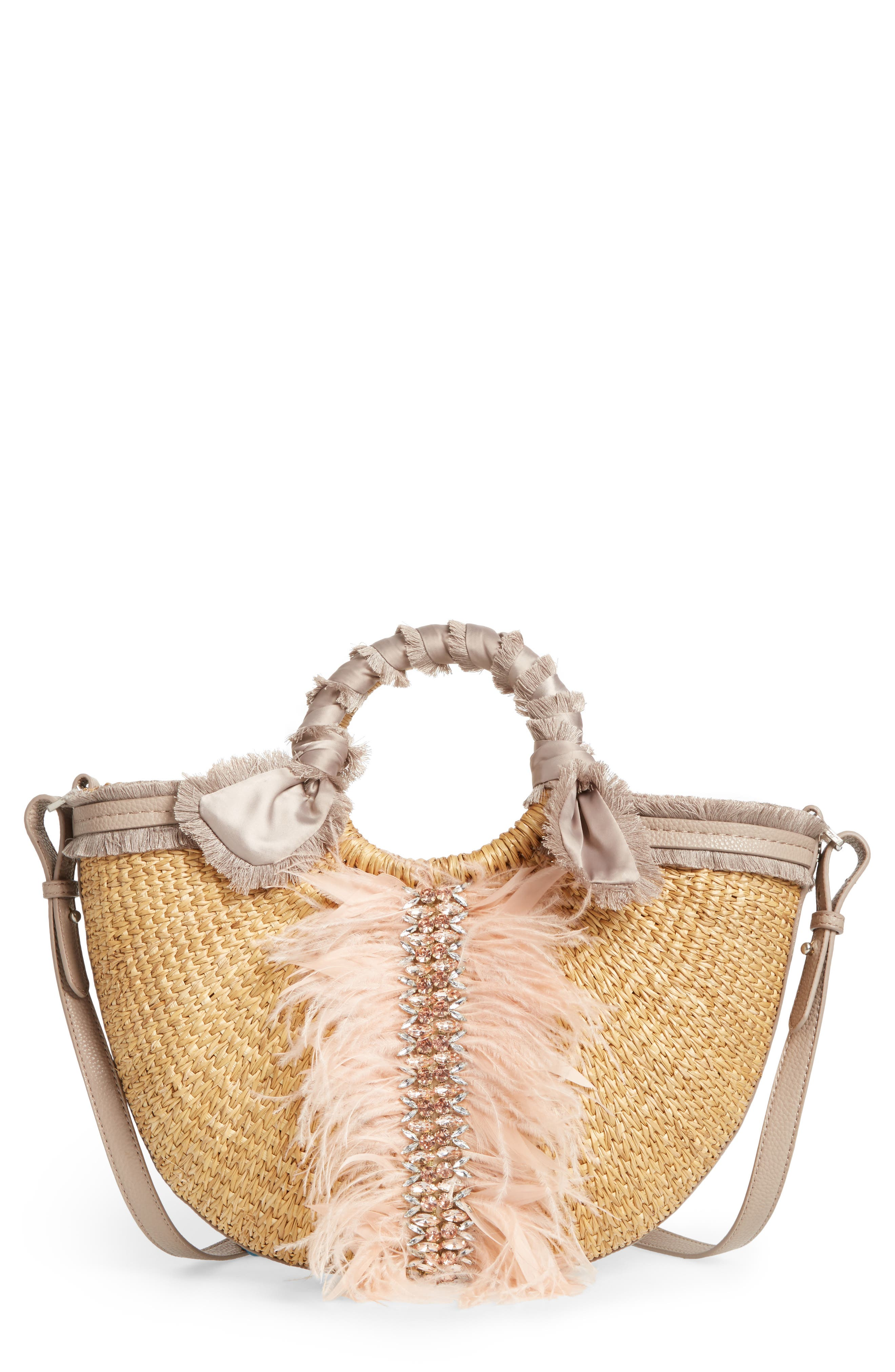 Idina Feather Straw Tote,                             Main thumbnail 1, color,                             Pink Multi