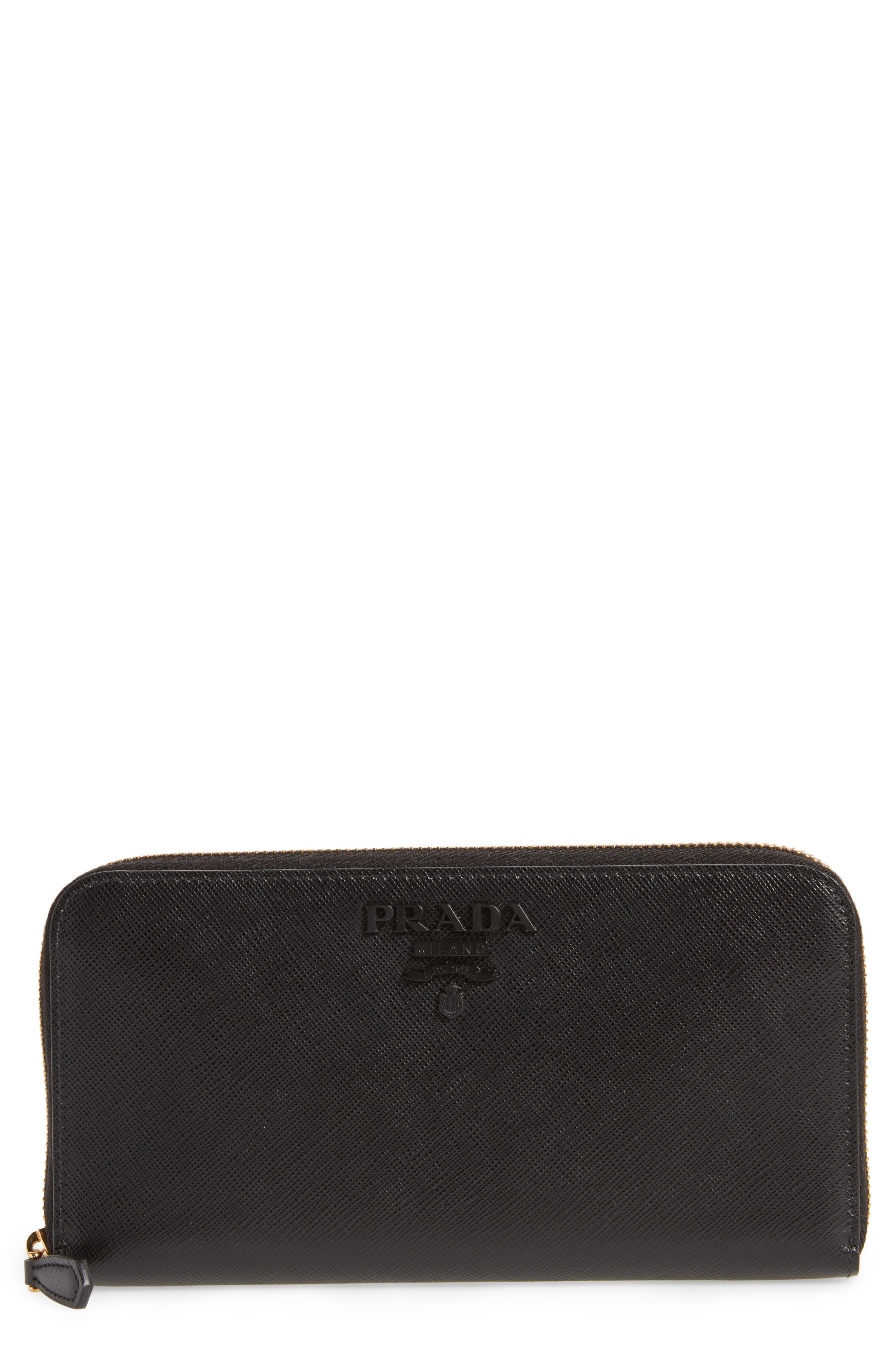 Prada Saffiano Leather Zip Around Wallet