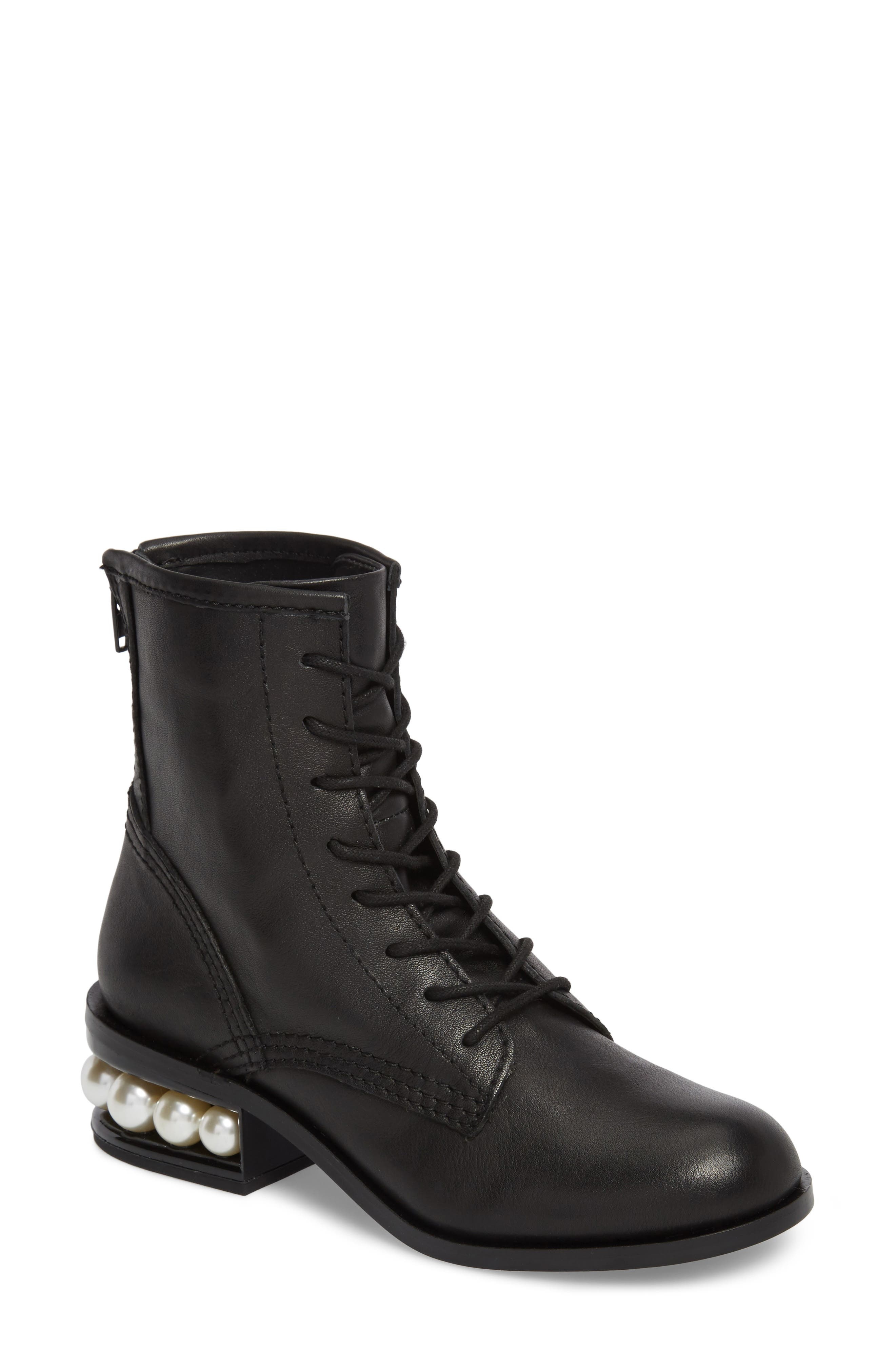 Pixy Statement Heel Boot,                         Main,                         color, Black Leather