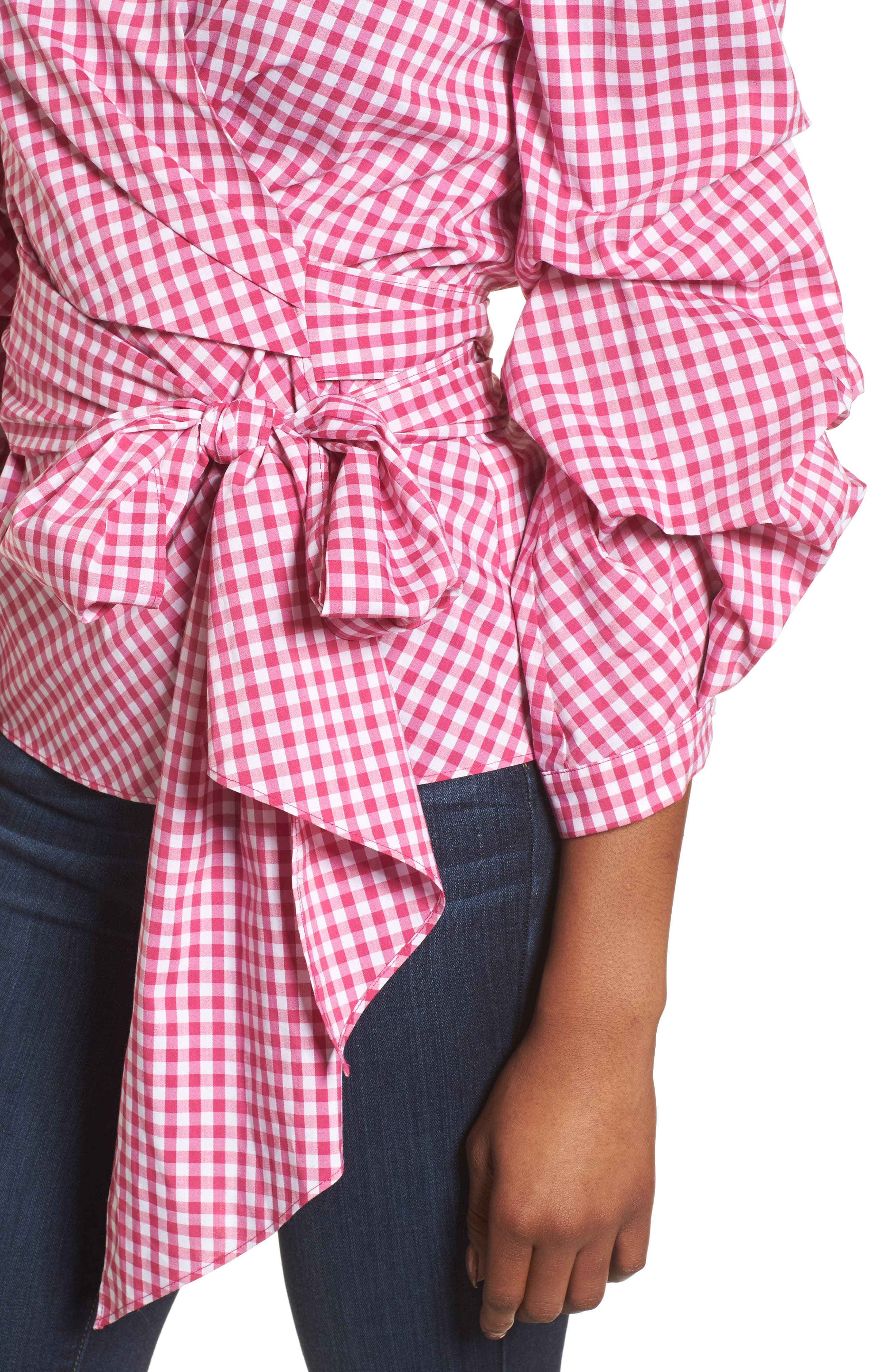 Pintuck Blouson Sleeve Wrap Top,                             Alternate thumbnail 4, color,                             Pink- White Gingham