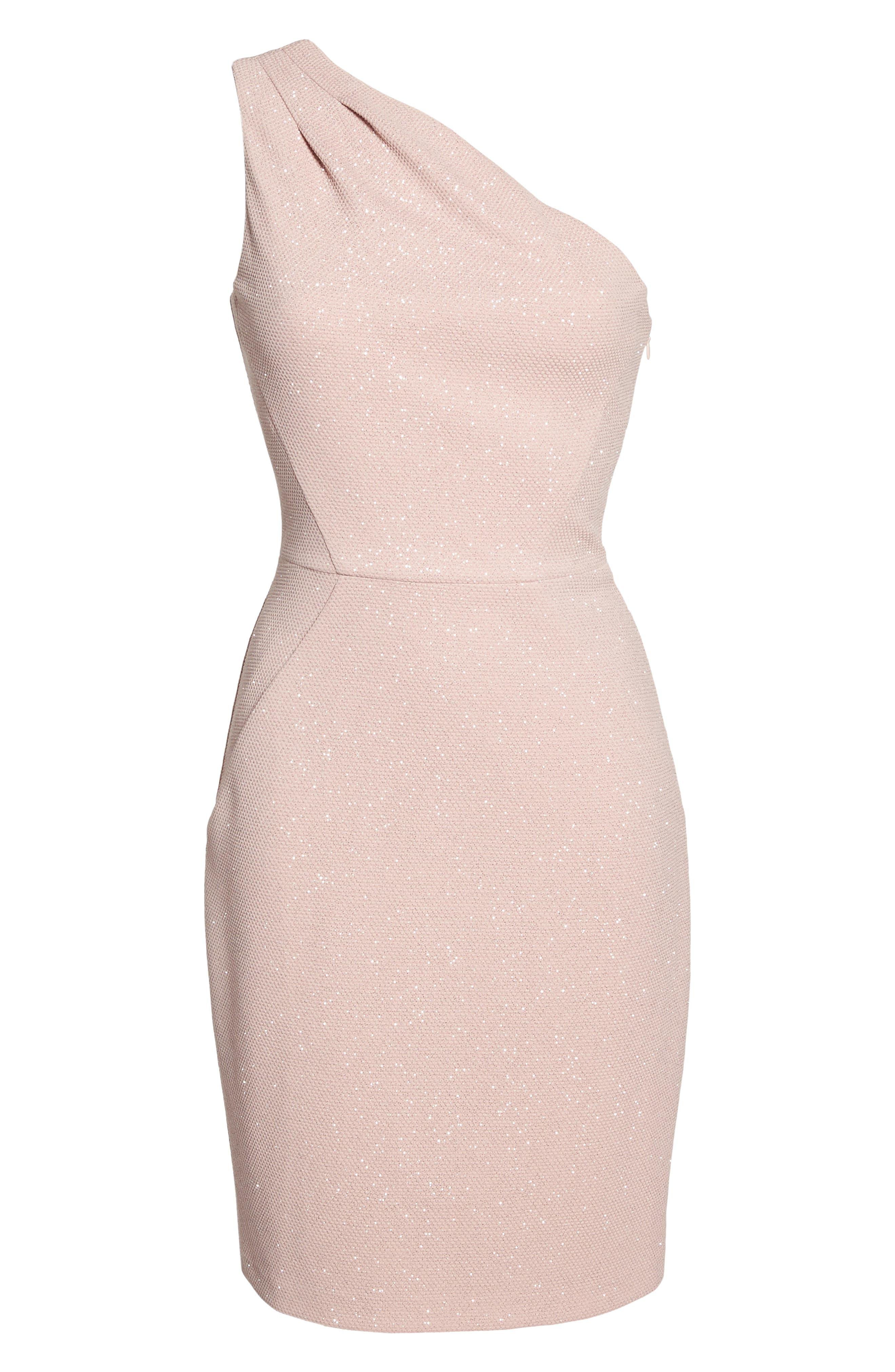 Glitter One-Shoulder Sheath Dress,                             Alternate thumbnail 6, color,                             Blush