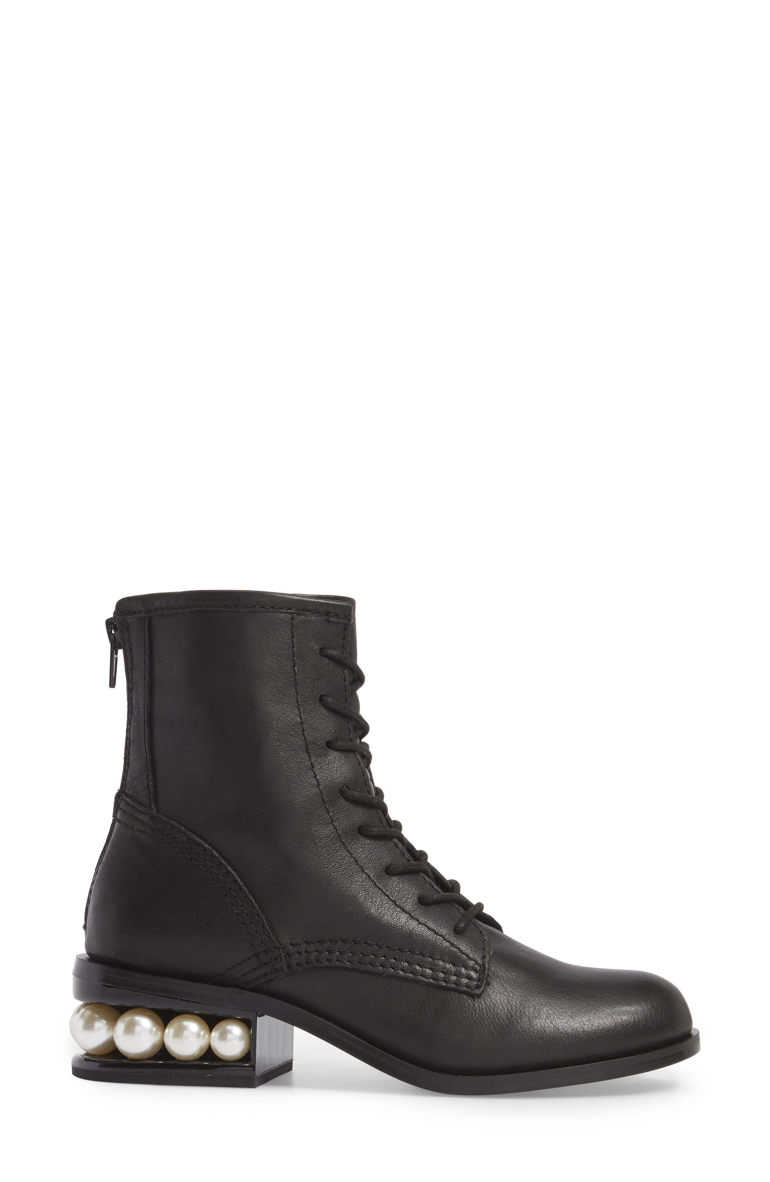 Pixy Statement Heel Boot,                             Alternate thumbnail 3, color,                             Black Leather