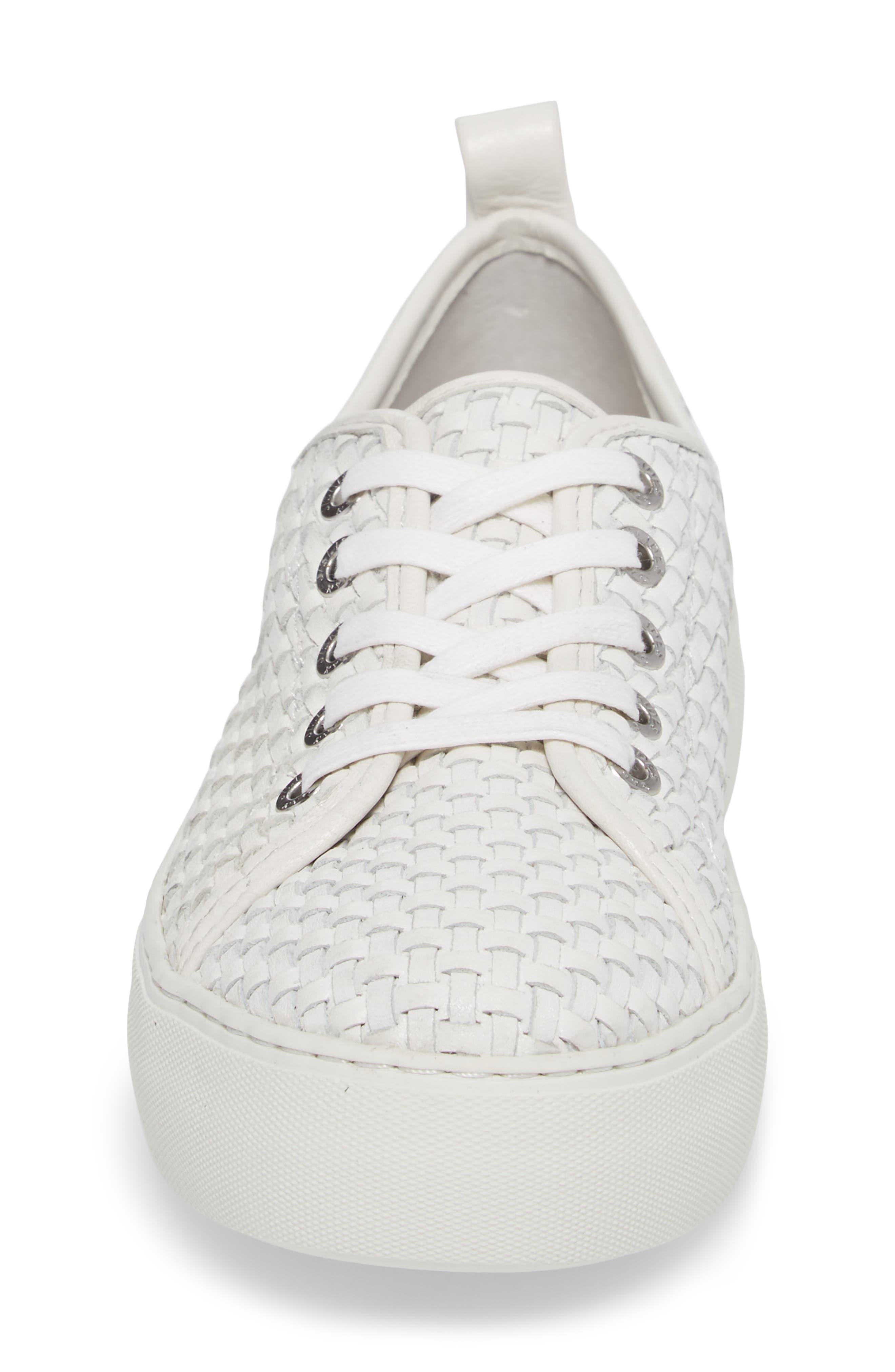 Artsy Woven Platform Sneaker,                             Alternate thumbnail 4, color,                             White Leather