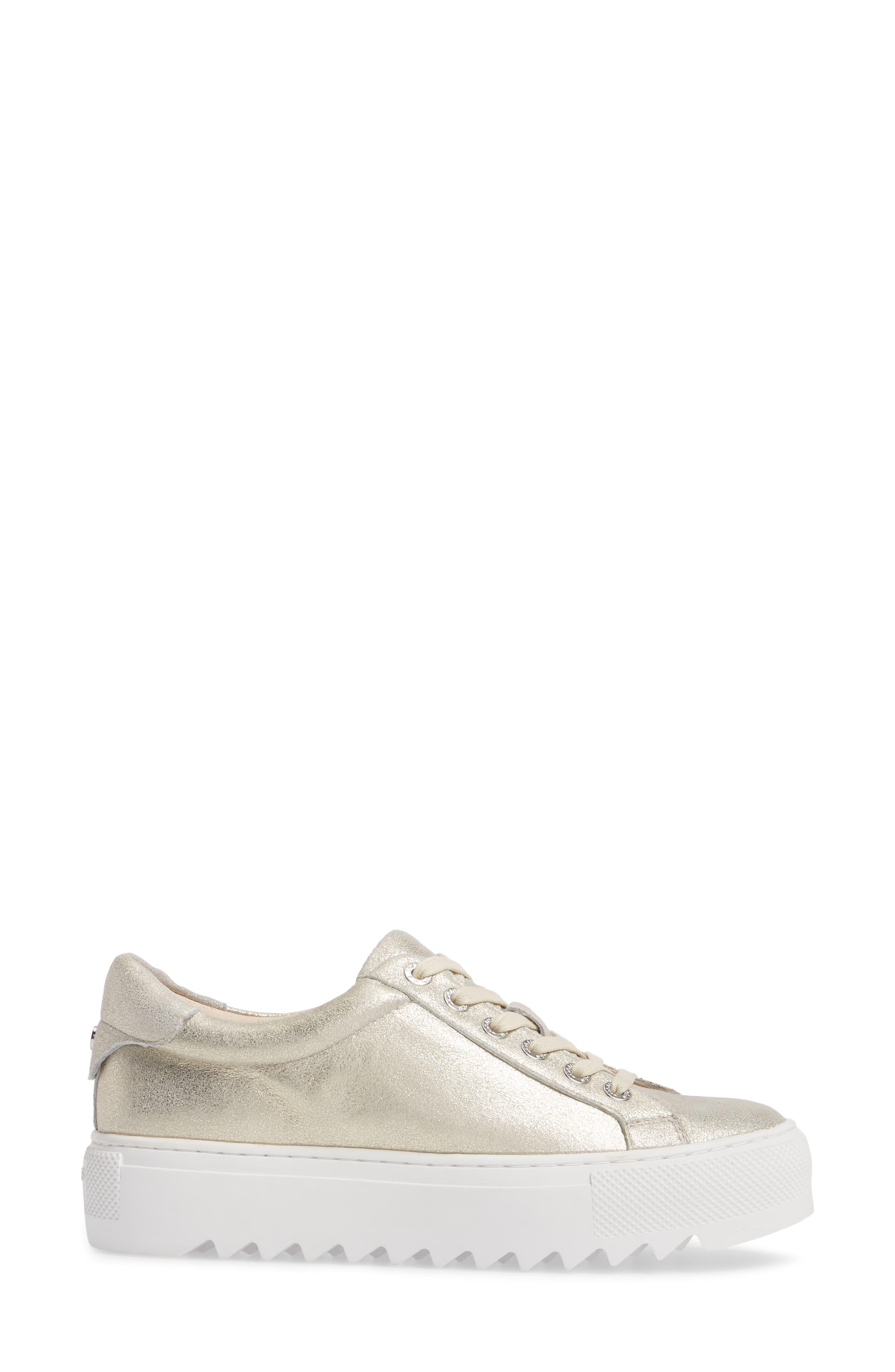 Sapphire Platform Sneaker,                             Alternate thumbnail 3, color,                             Platino Leather