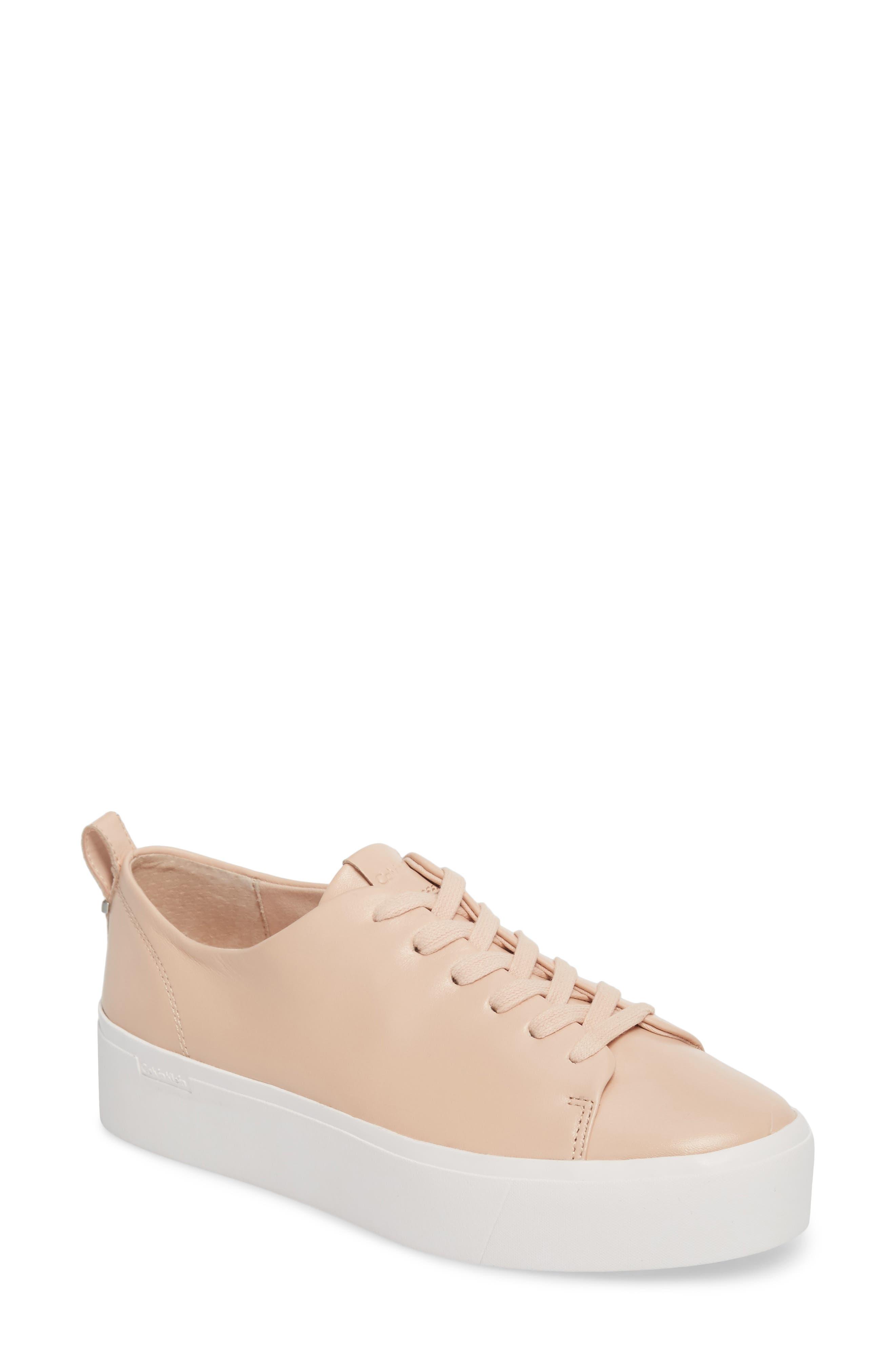 Janet Platform Sneaker,                             Main thumbnail 1, color,                             Pink Leather