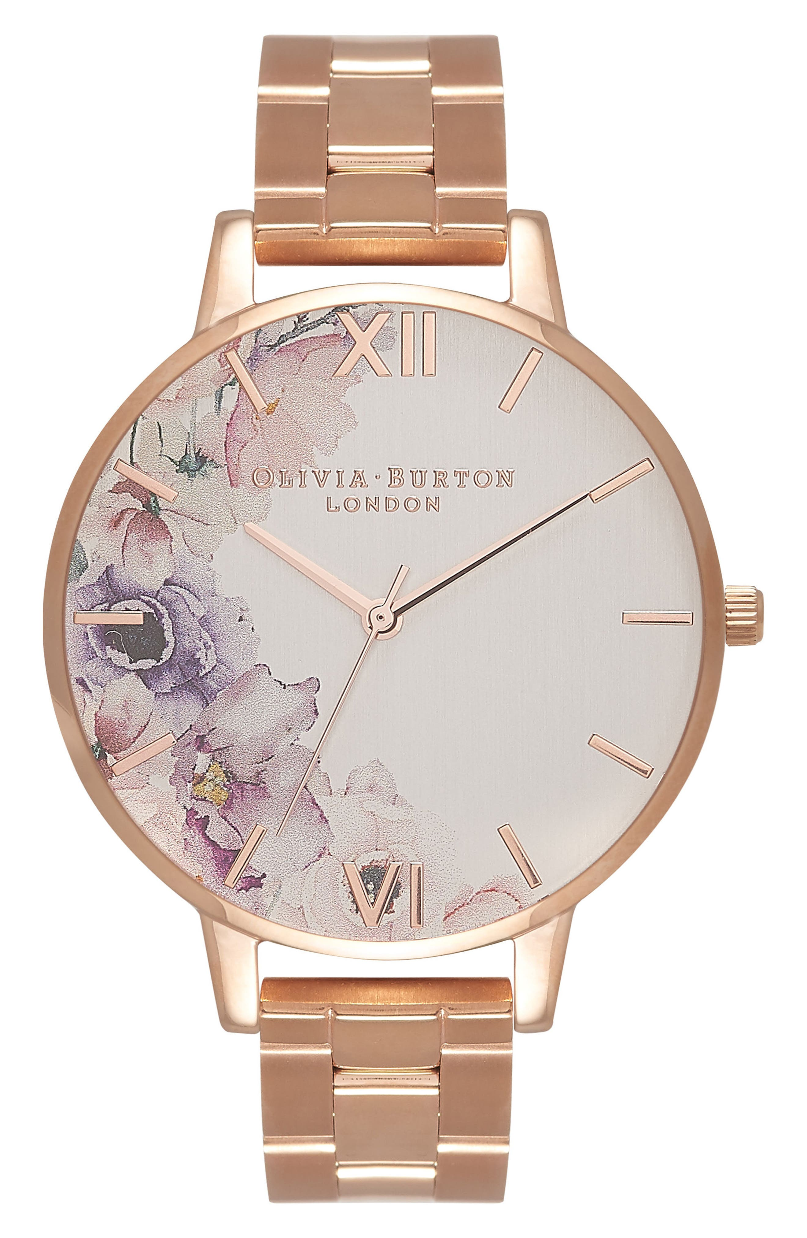 Watercolour Florals Bracelet Watch, 38mm,                         Main,                         color, Rose Gold/ Silver/ Rose Gold