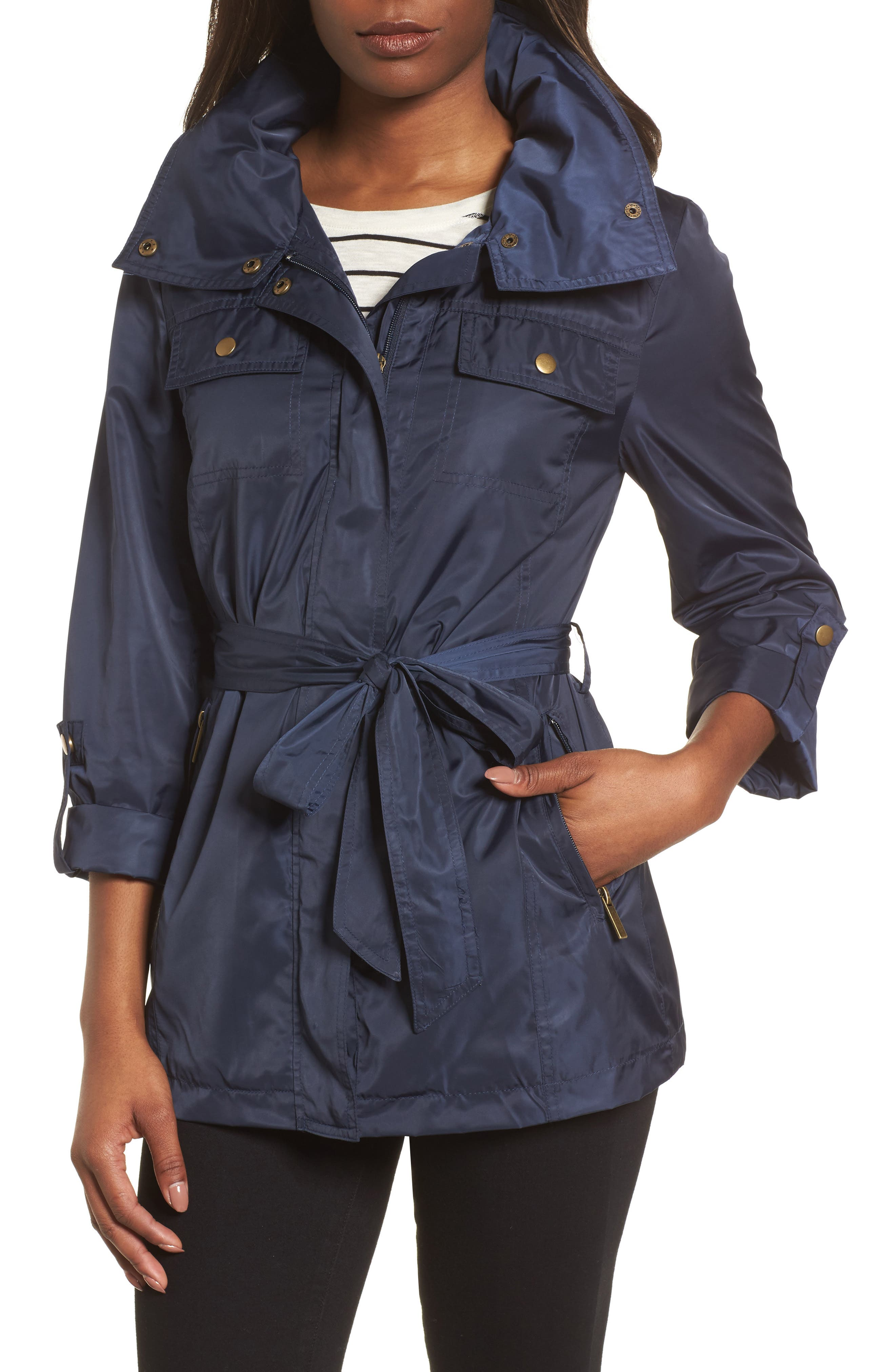 Belted Lightweight Jacket,                             Main thumbnail 1, color,                             Ink