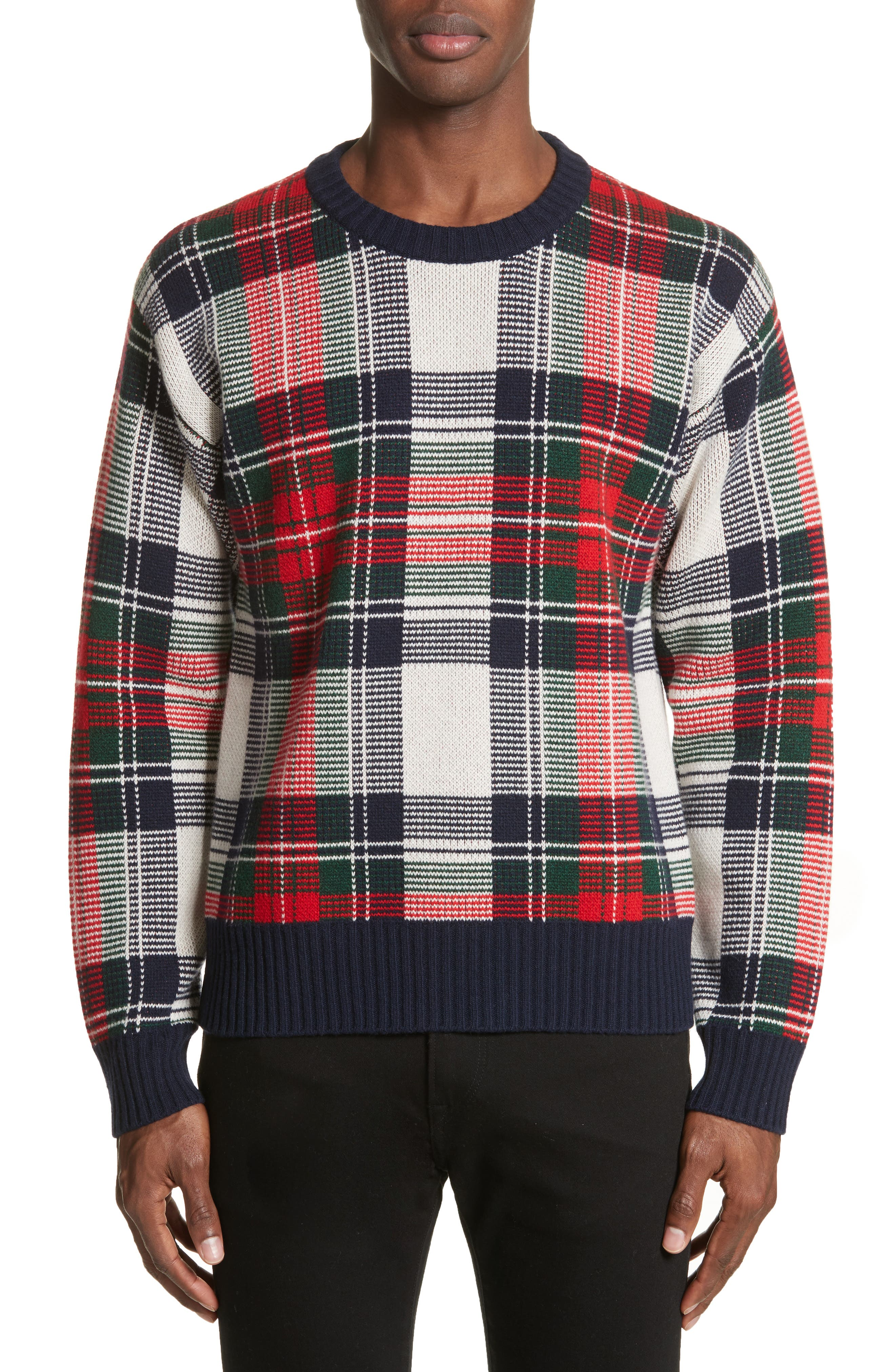 Main Image - Burberry Plaid Cashmere & Wool Sweater