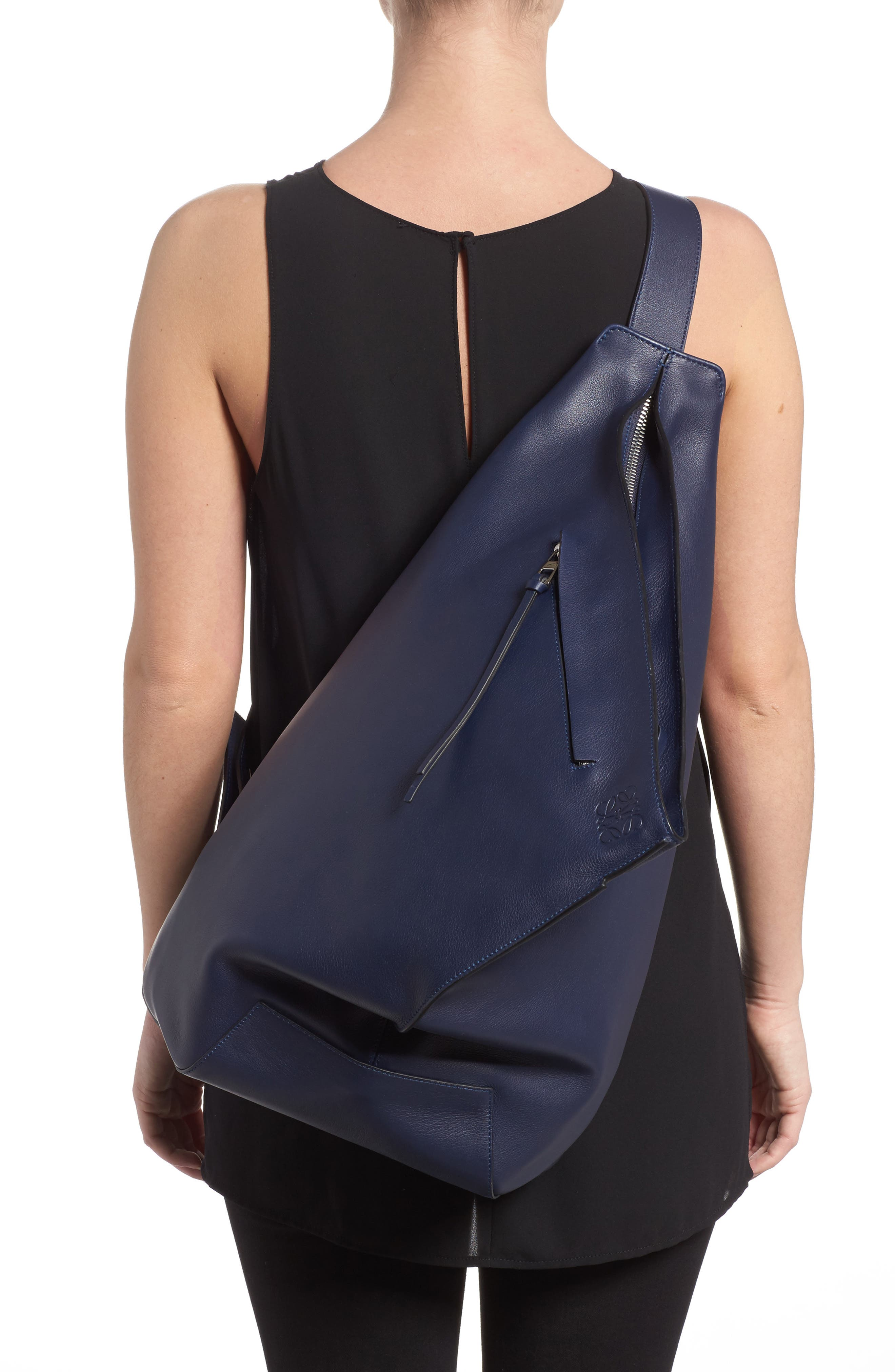 Anton Leather Sling Pack,                             Alternate thumbnail 2, color,                             Navy Blue