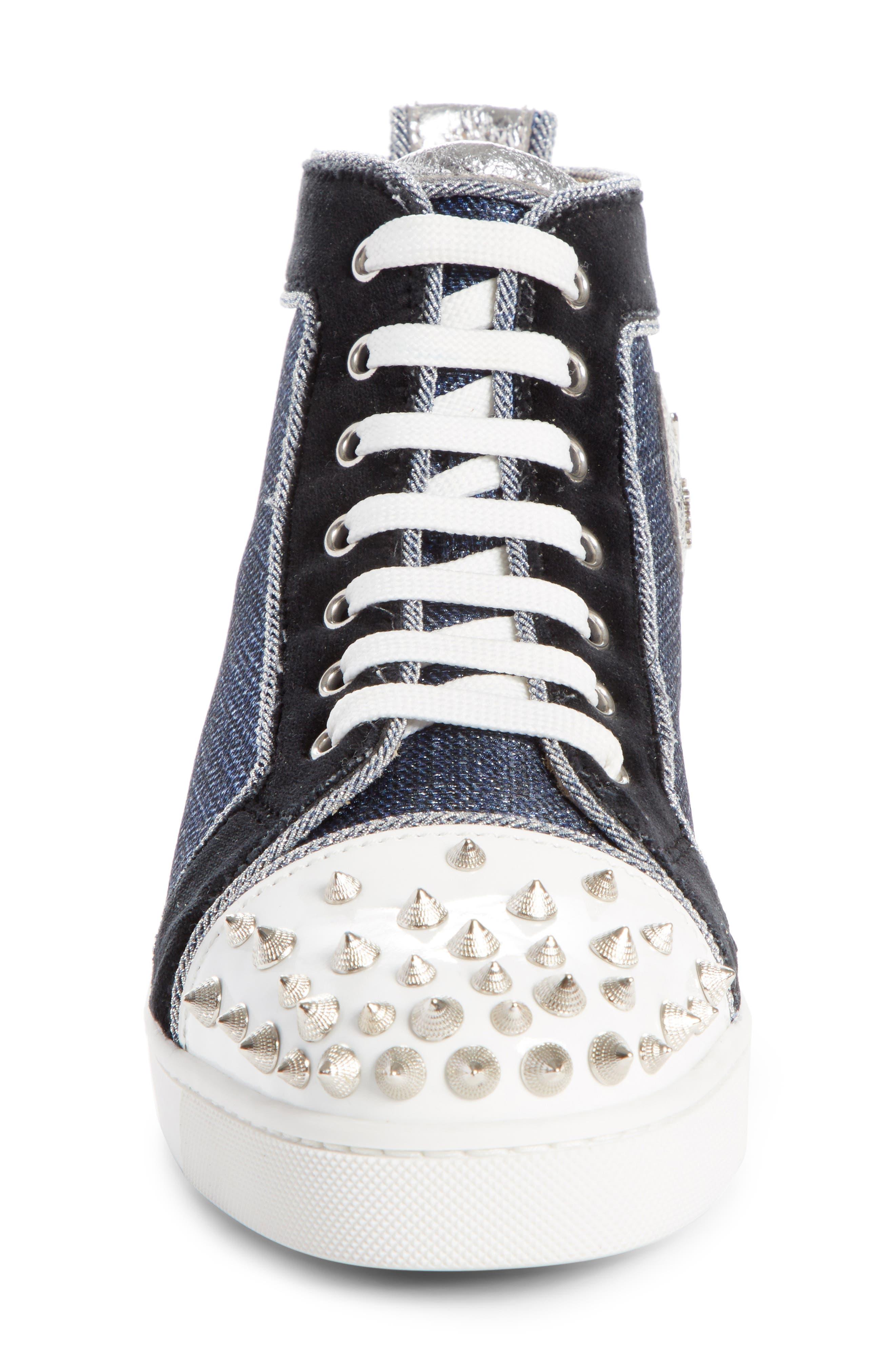 Lou Degra Spiked High Top Sneaker,                             Alternate thumbnail 4, color,                             Denim/ Silver