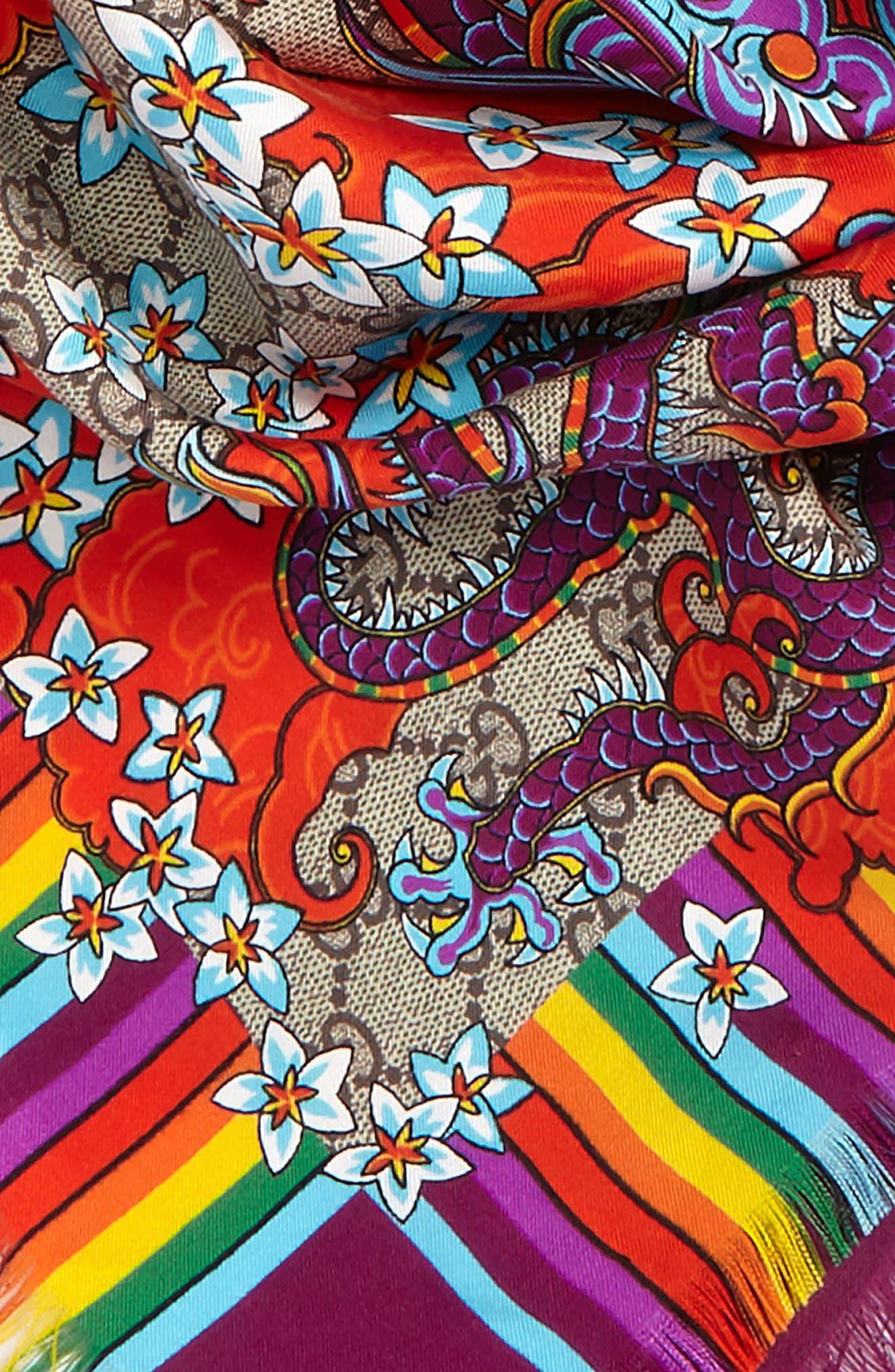 Alternate Image 3  - Gucci GG Dragon Rainbow Foulard Silk Scarf