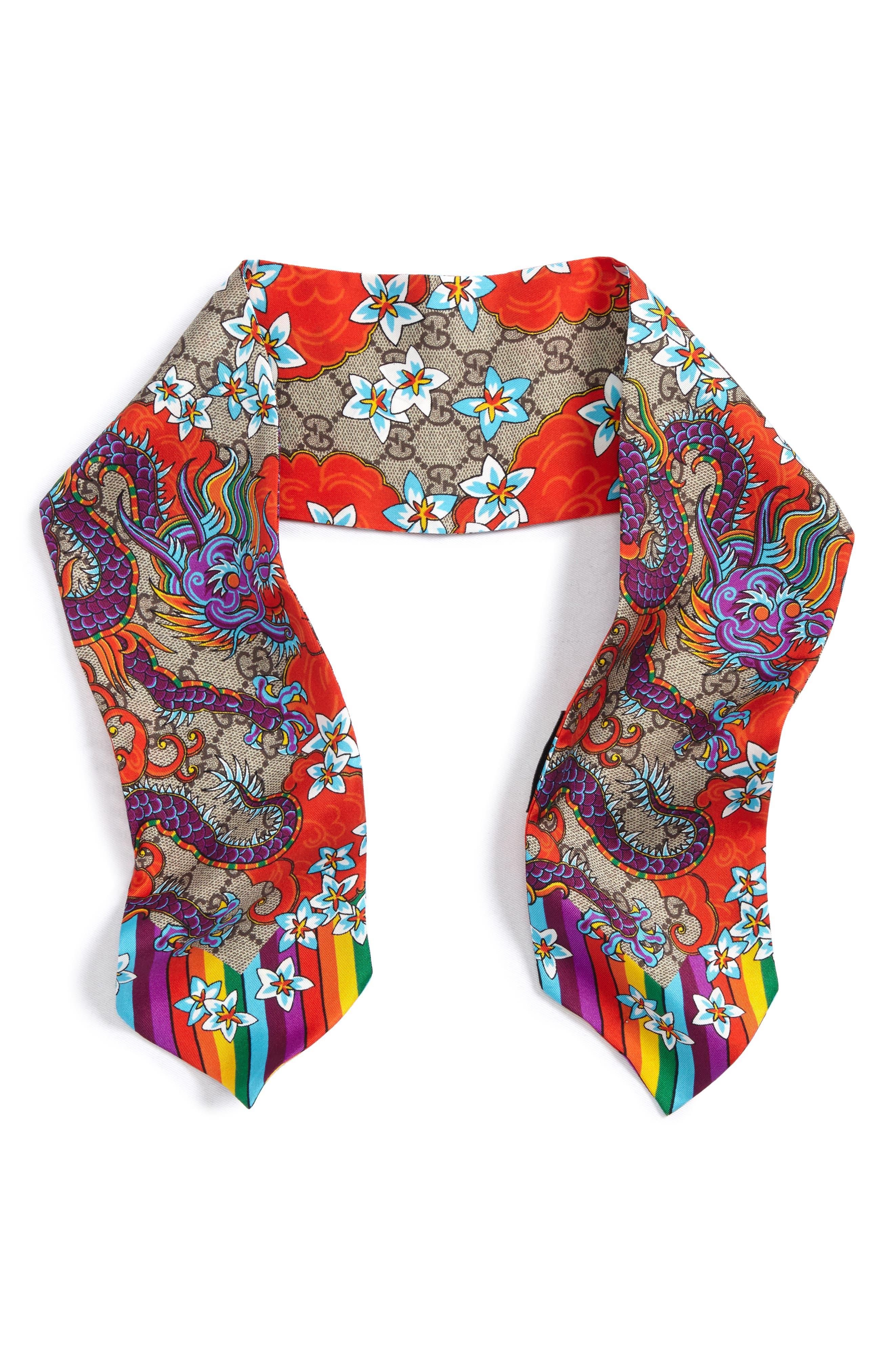 Gucci GG Dragon Rainbow Skinny Silk Scarf
