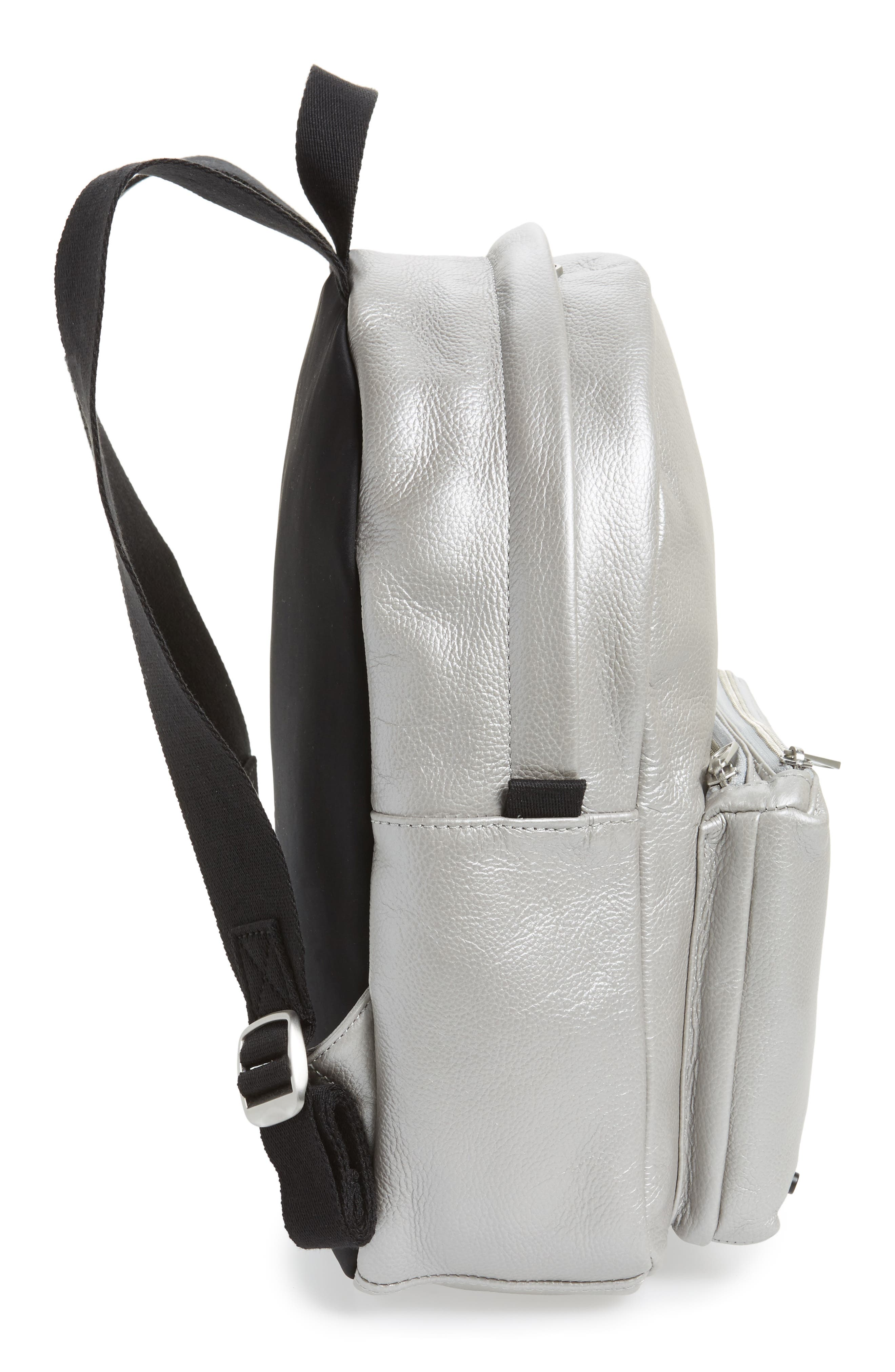 Greenwood Mini Lorimer Leather Backpack,                             Alternate thumbnail 5, color,                             Silver