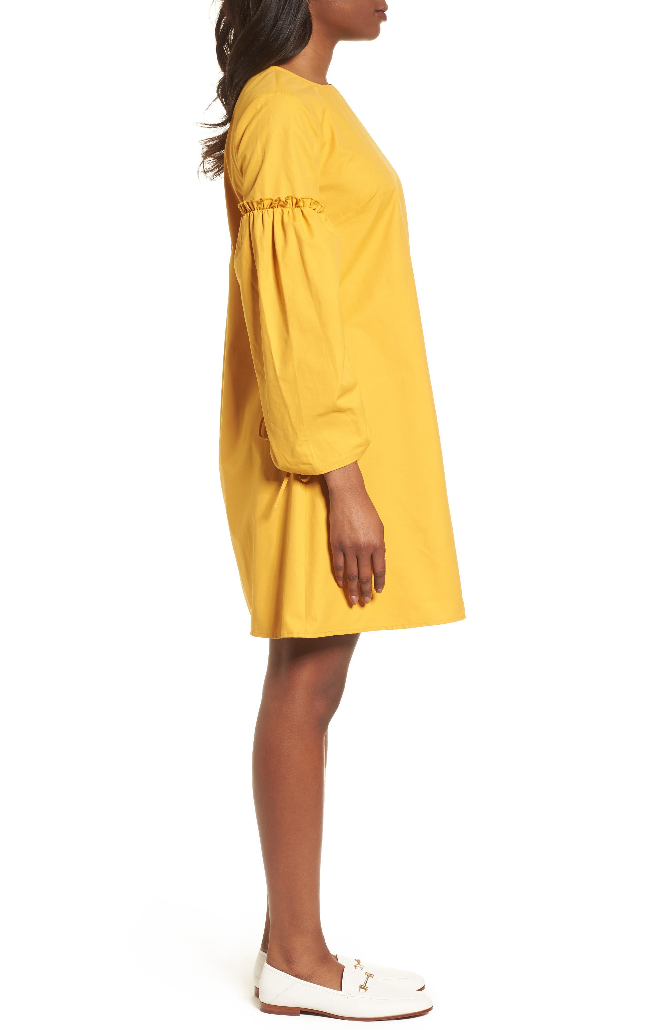 Parachute Sleeve Shift Dress,                             Alternate thumbnail 3, color,                             Yellow Mineral