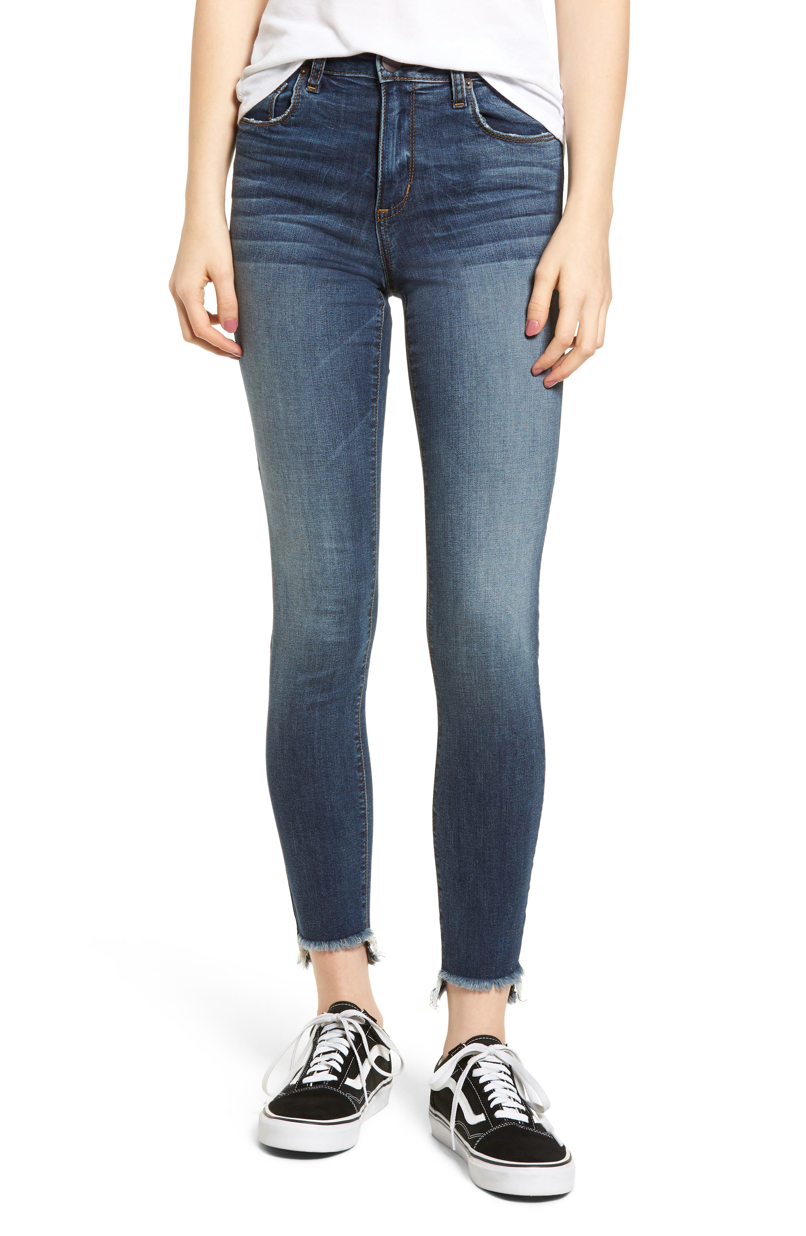 Ellie Step Hem Skinny Jeans,                             Main thumbnail 1, color,                             Floresta