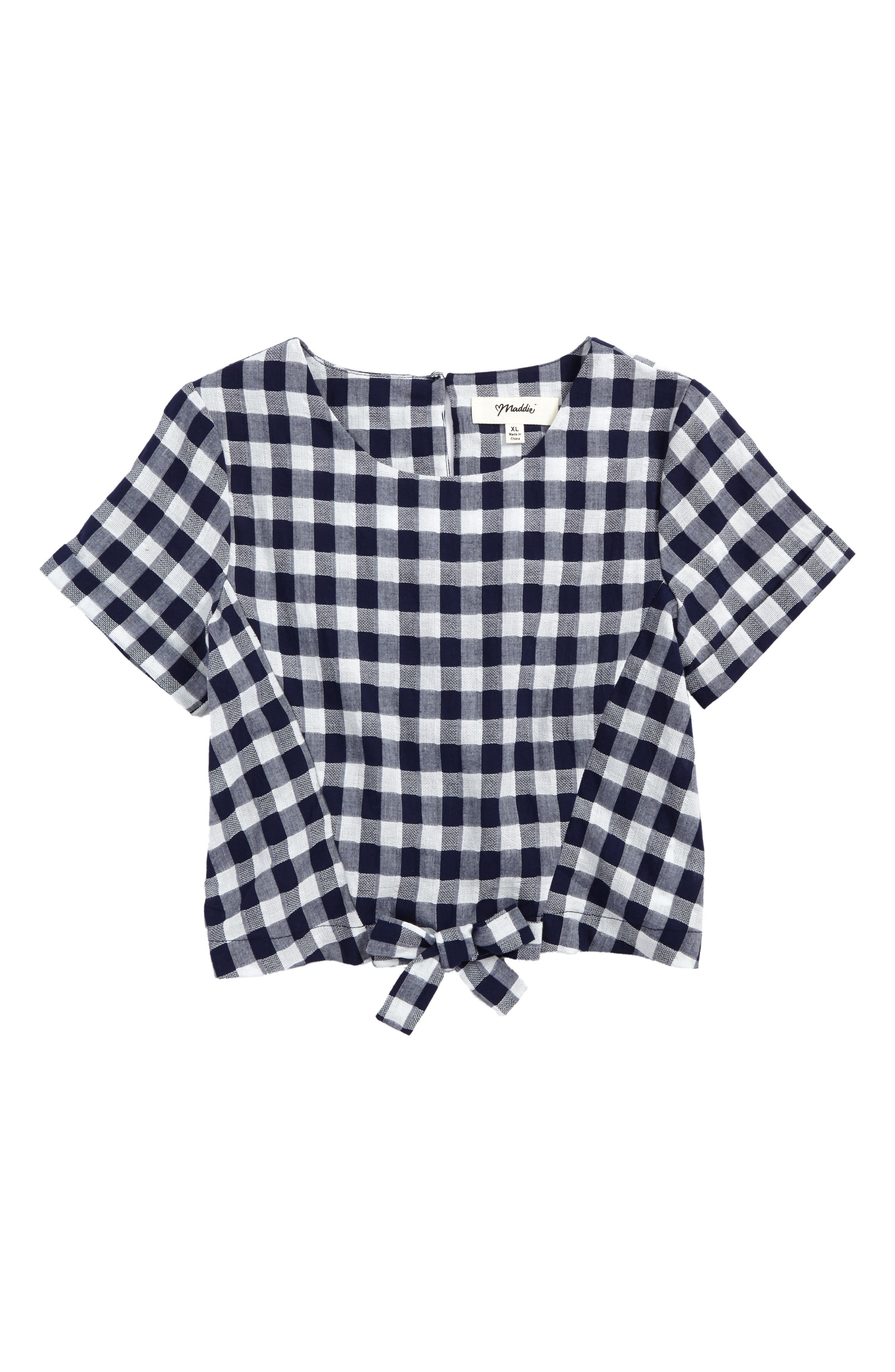 Tie Front Shirt,                         Main,                         color, Navy/ White