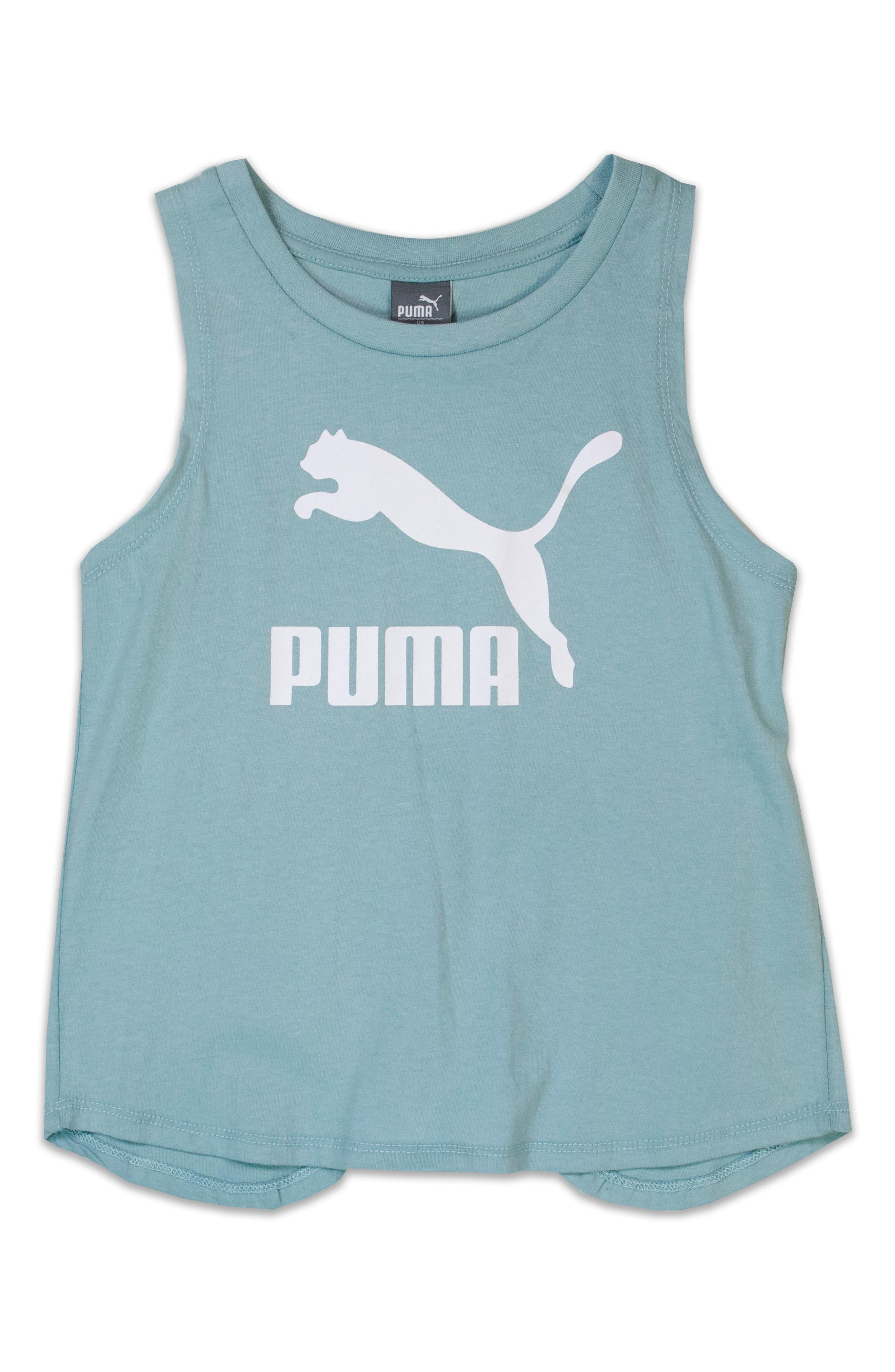 Main Image - PUMA Logo Cross Back Tank (Big Girls)