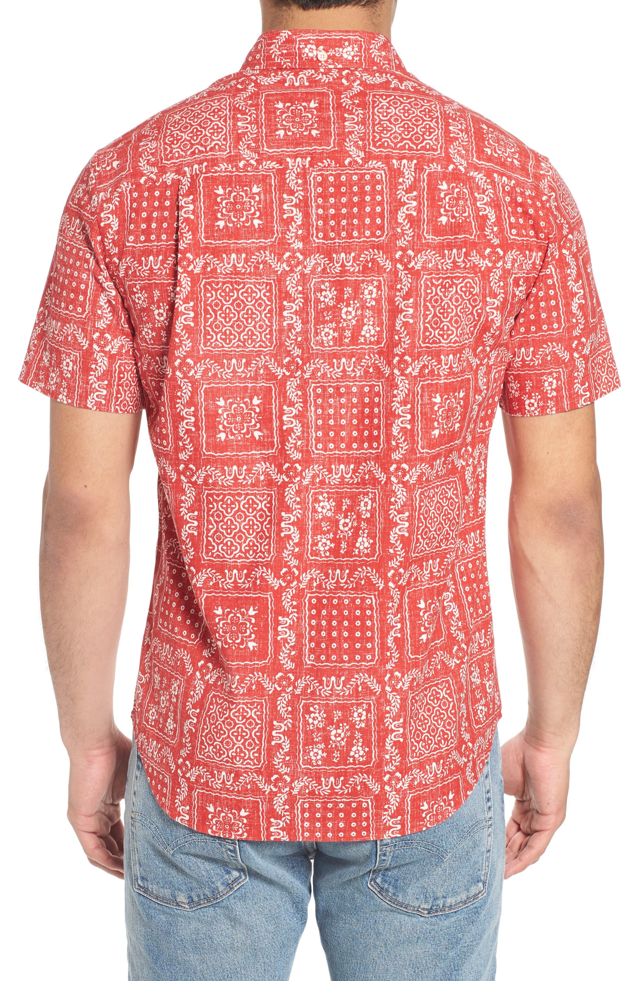 Lahaina Sailor Tailored Fit Sport Shirt,                             Alternate thumbnail 3, color,                             Cherry