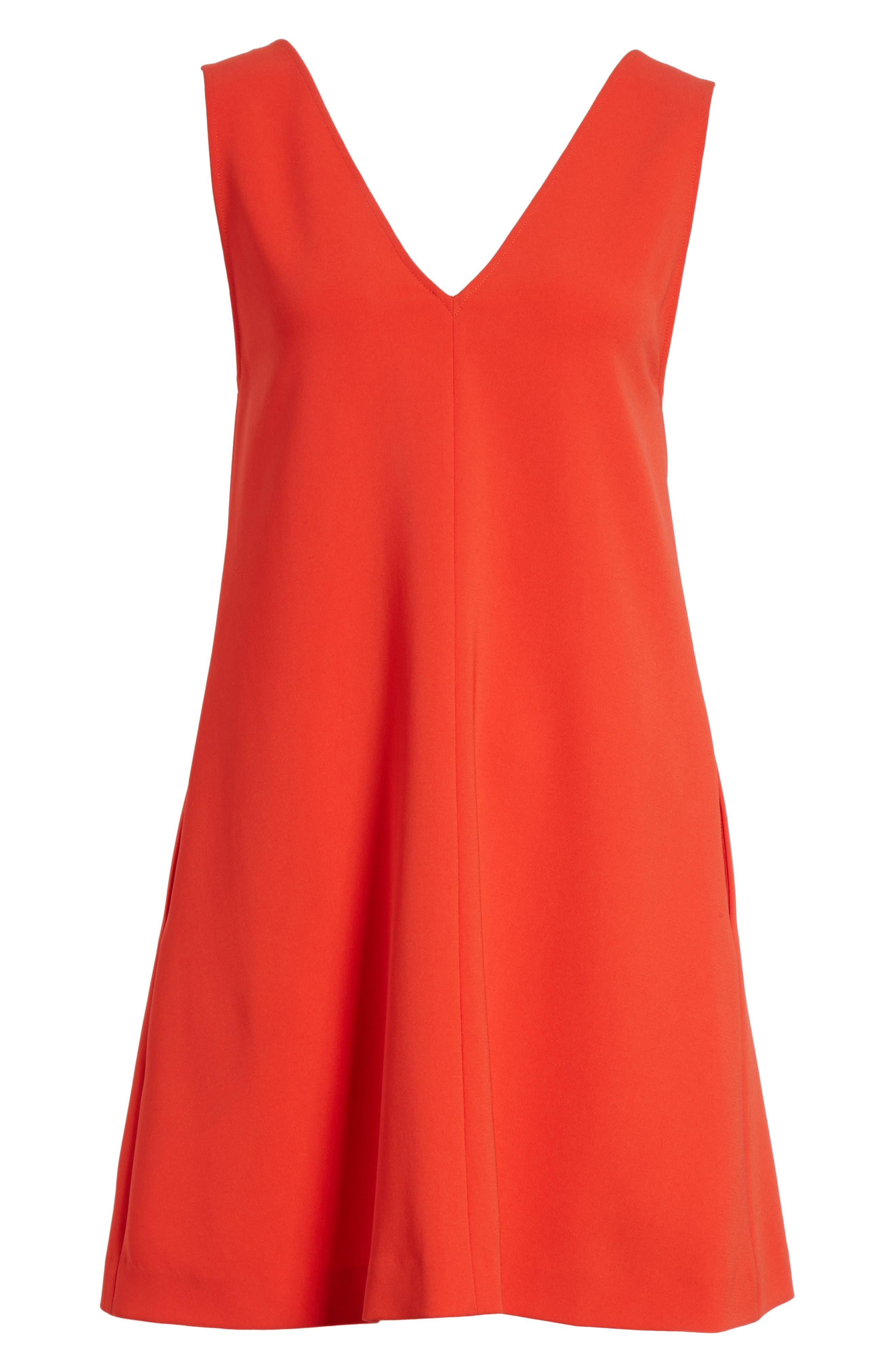 Admiral Crepe V-Neck Shift Dress,                             Alternate thumbnail 6, color,                             Bright Tomato