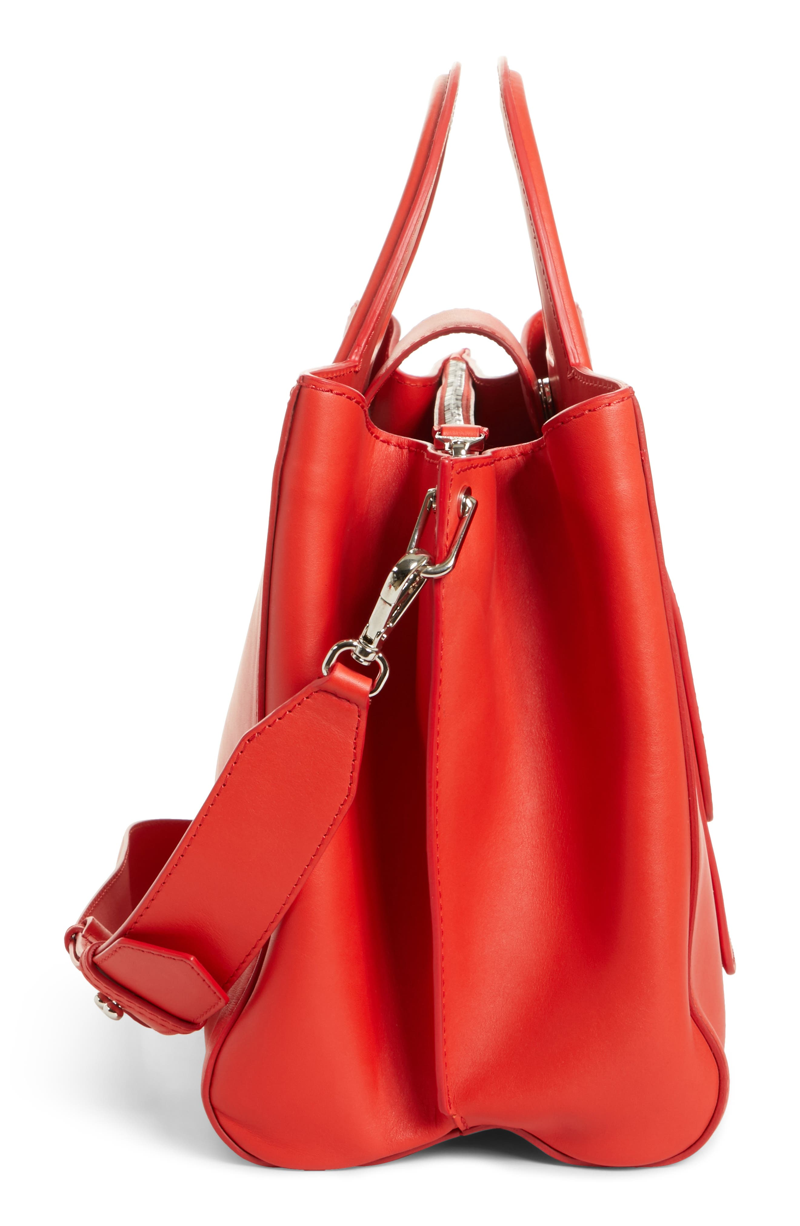 Medium Grace Leather Tote,                             Alternate thumbnail 5, color,                             Coral