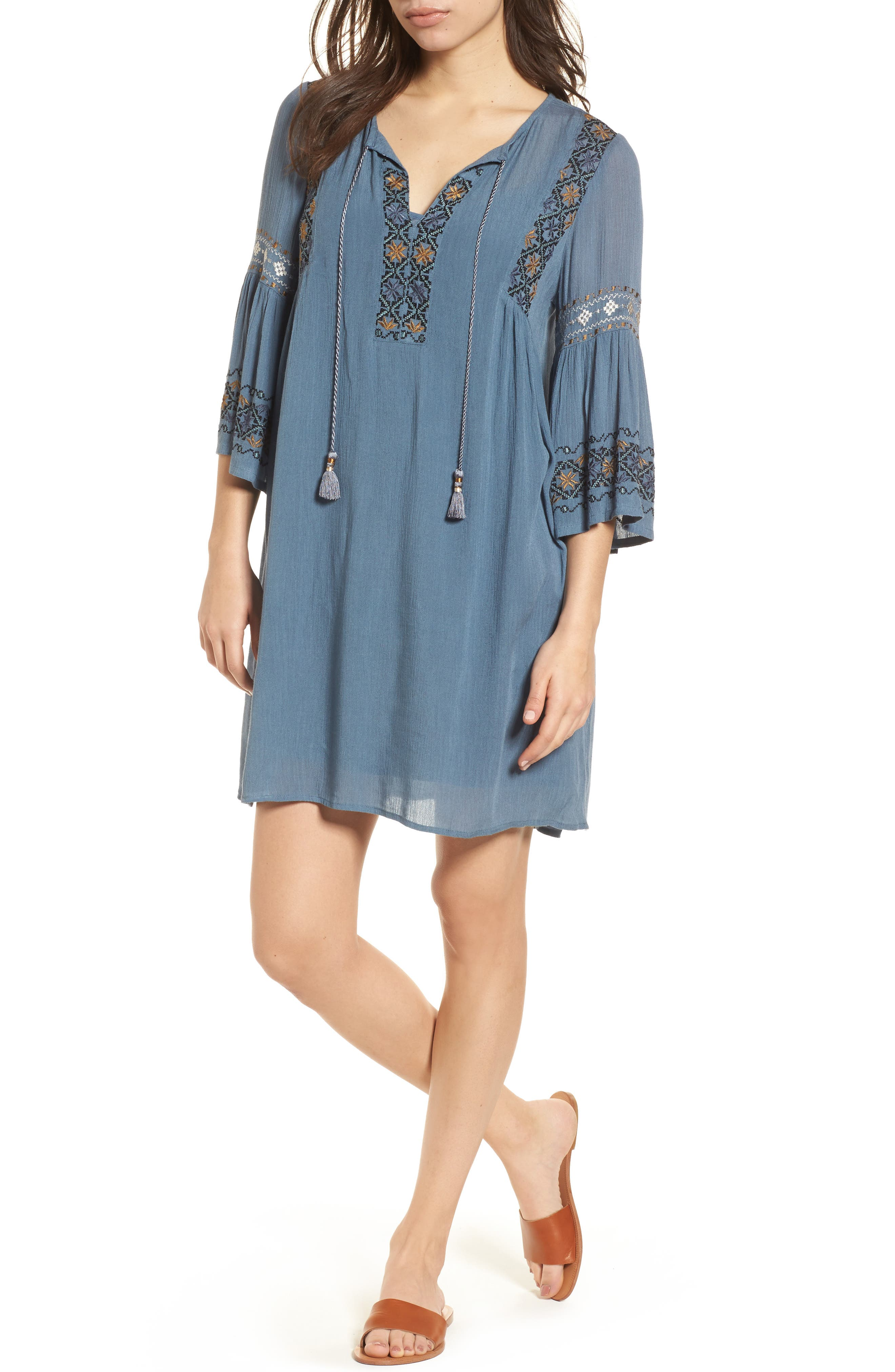 Embroidered Bell Sleeve Dress,                         Main,                         color, China Blue