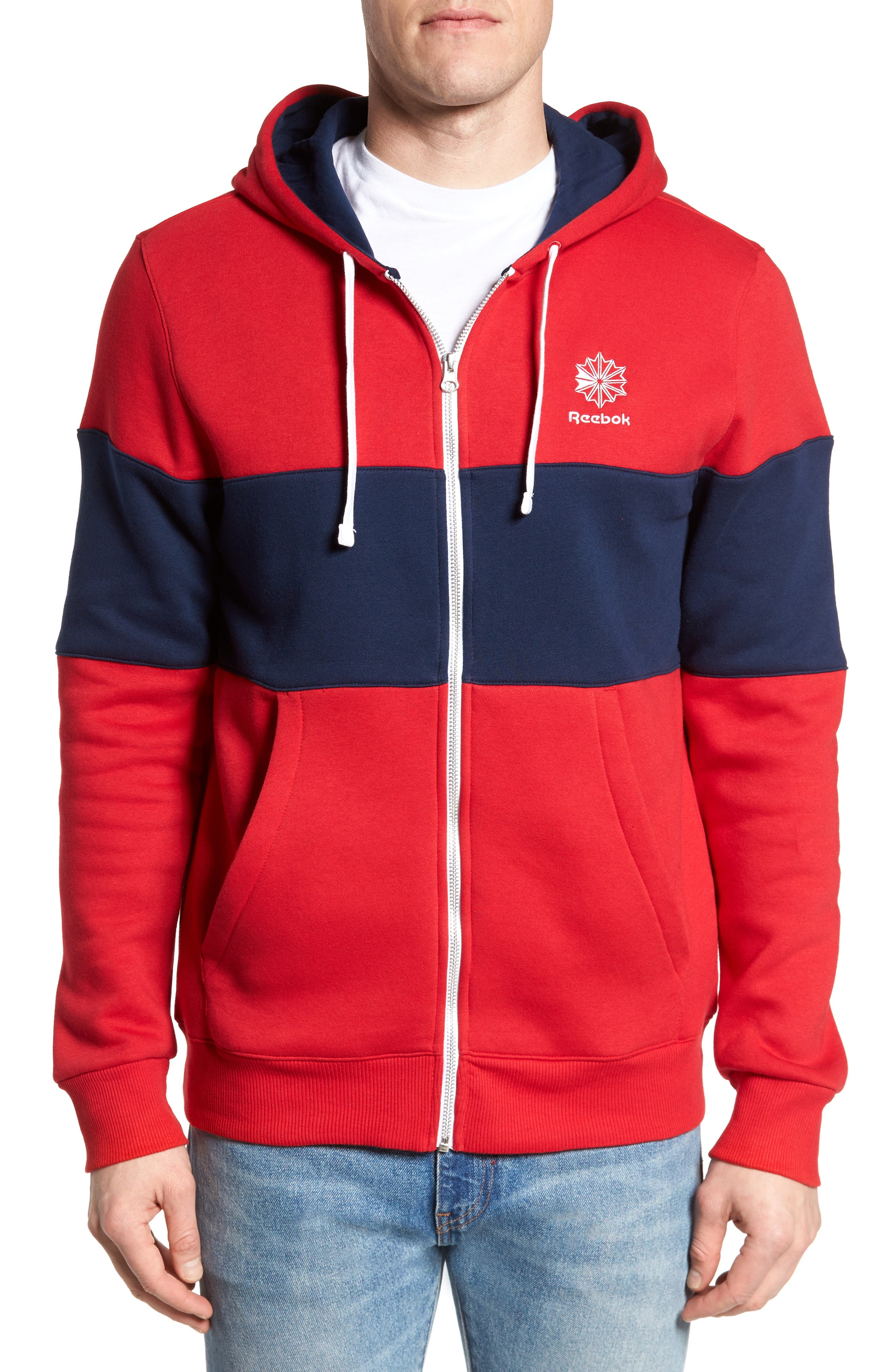 Classics Foundation Clockblock Zip Hoodie,                             Main thumbnail 1, color,                             Excellent Red/ Collegiate Navy