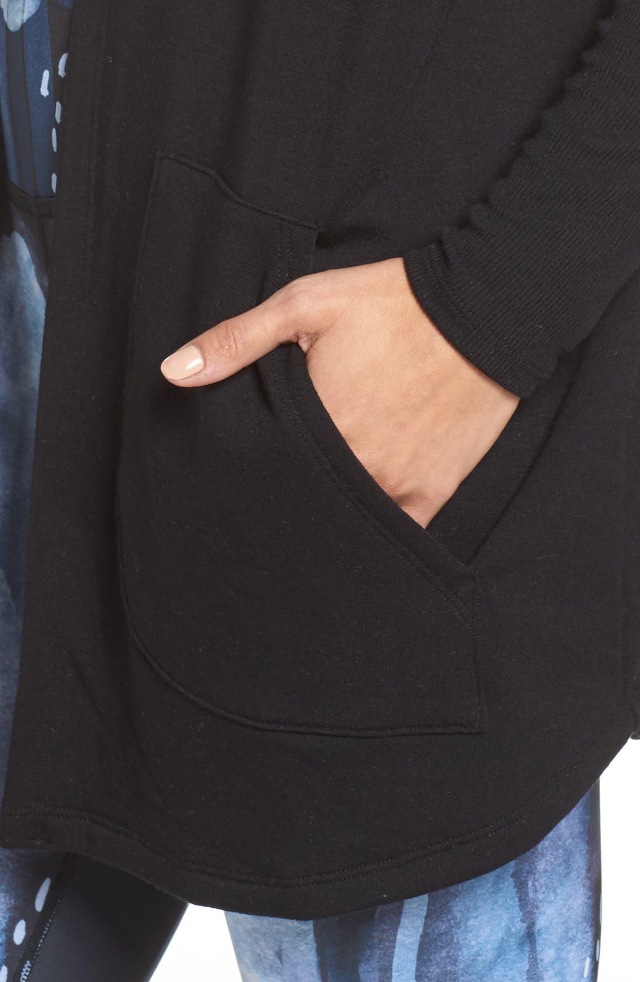 Love & Fleece Split-Back Hooded Cardigan,                             Alternate thumbnail 4, color,                             Black