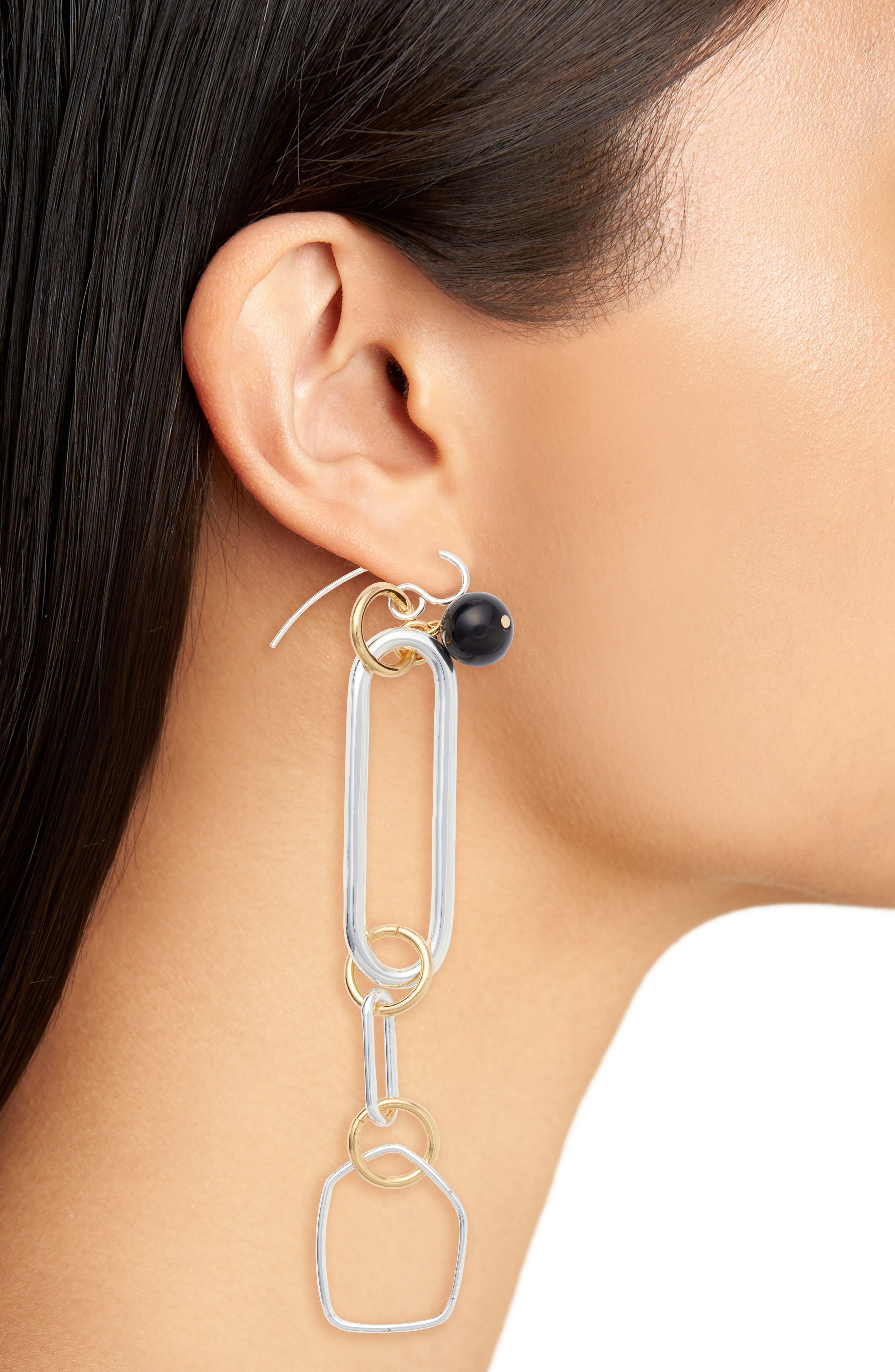 Asymmetrical Drop Earrings,                             Alternate thumbnail 2, color,                             Gold/ Silver/ Black