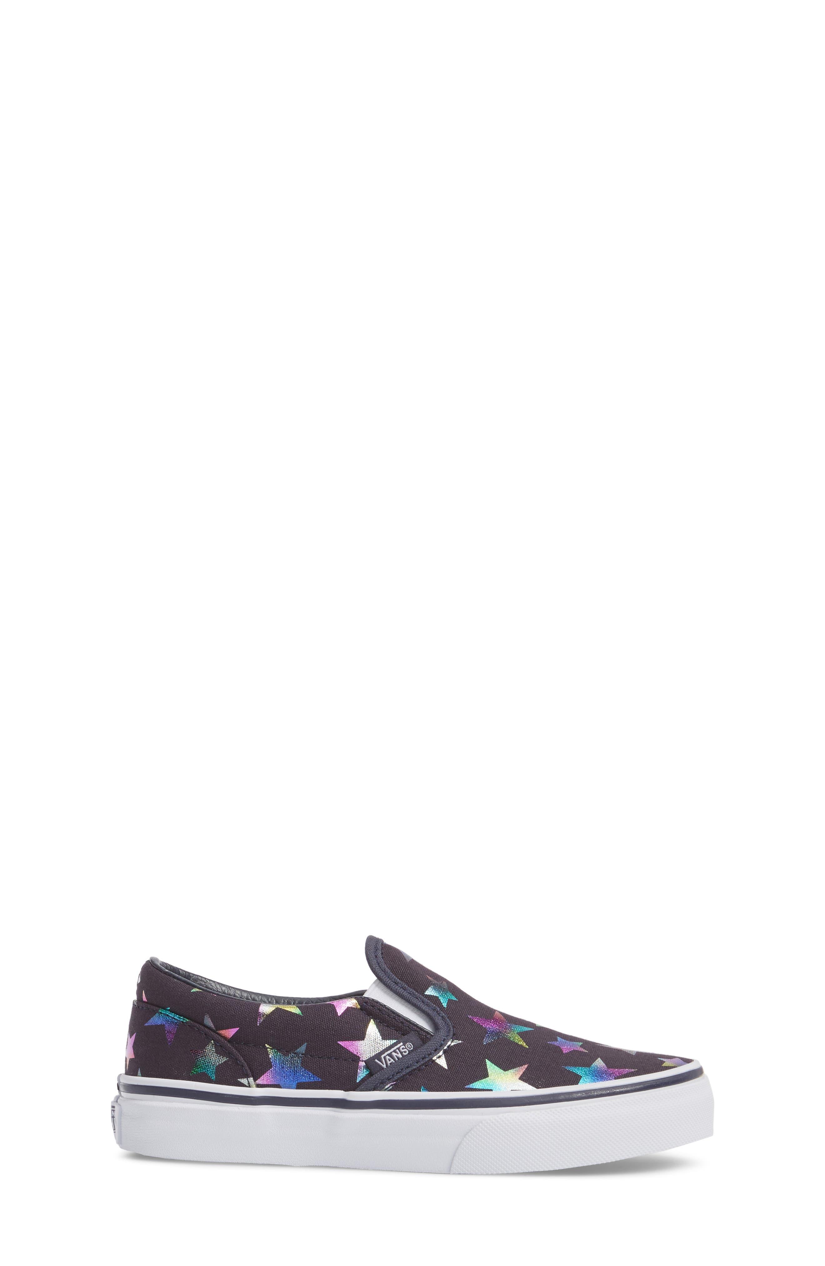 Classic Rainbow Shimmer Star Slip-On Sneaker,                             Alternate thumbnail 3, color,                             Parisian Night Foil Stars