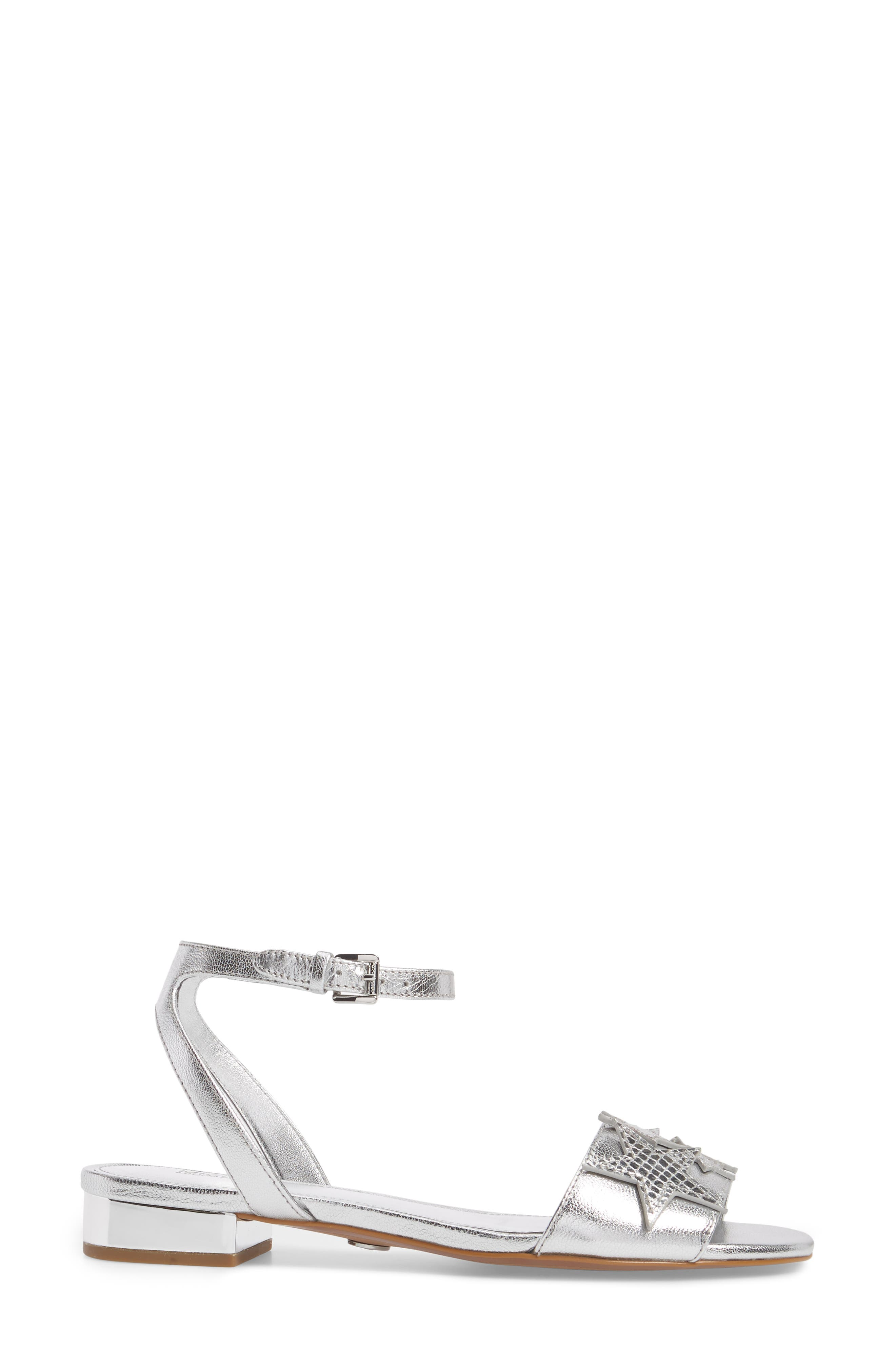 Lexie Star Embellished Sandal,                             Alternate thumbnail 3, color,                             Silver Nappa Leather